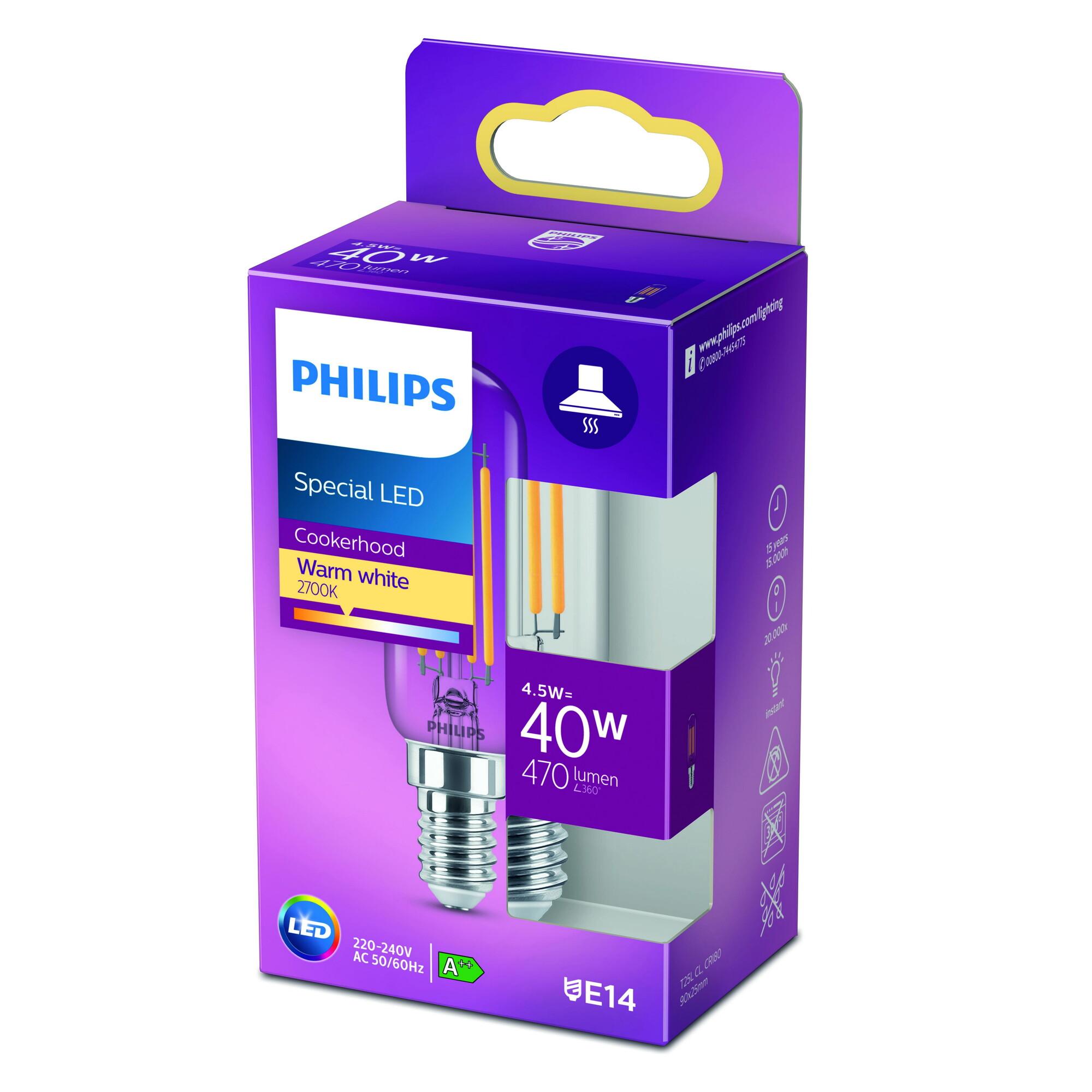 Philips LED classic E14 4,5W 470lm 2700K Ovaal Transparant