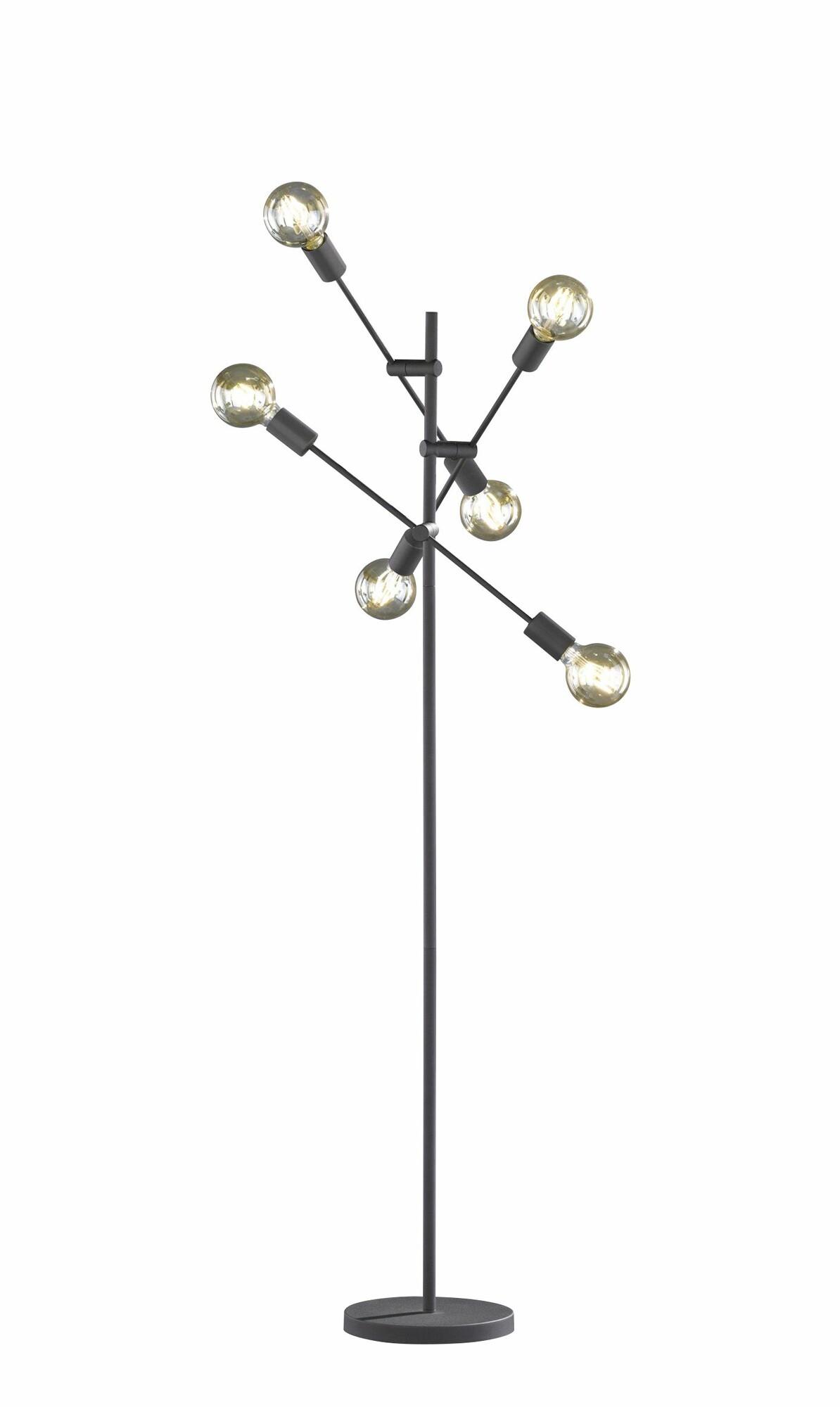 CRASS Vloerlamp E27 6x Zwart