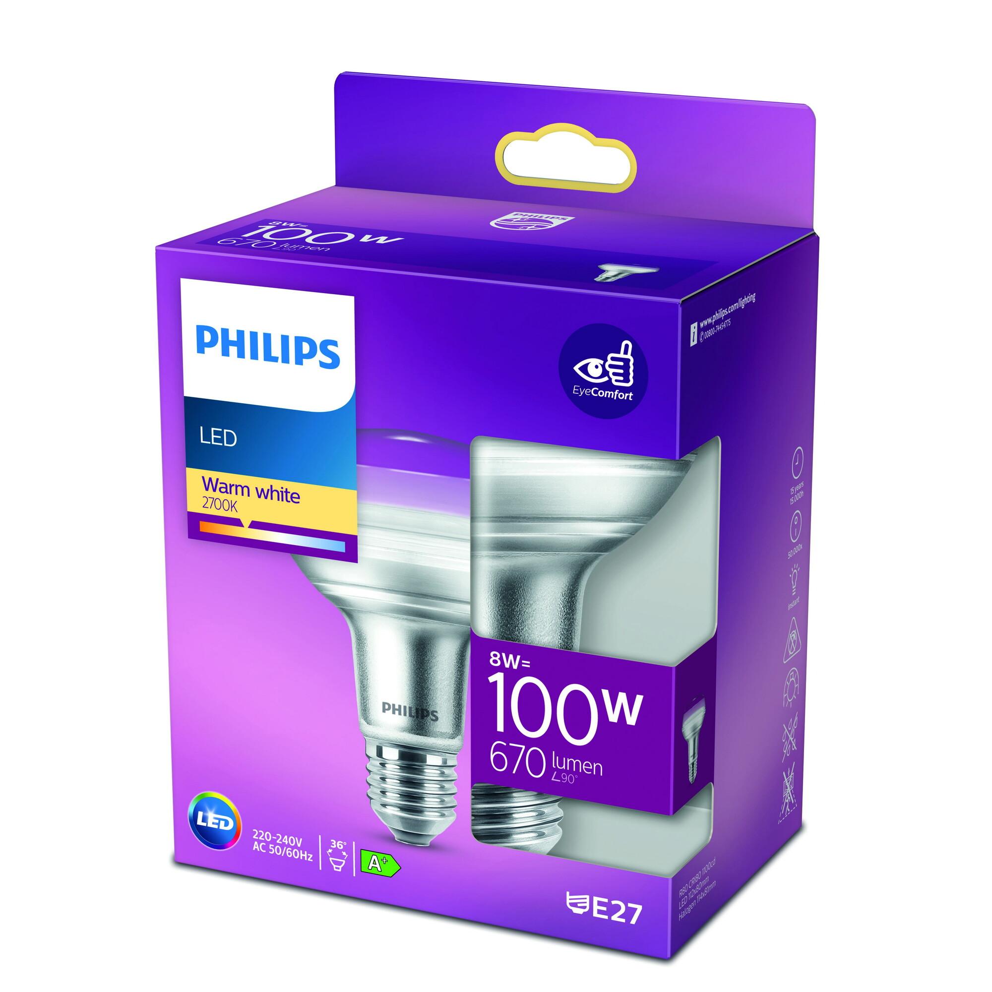 Philips LED E27 8W 735lm 2700K Reflector Transparant