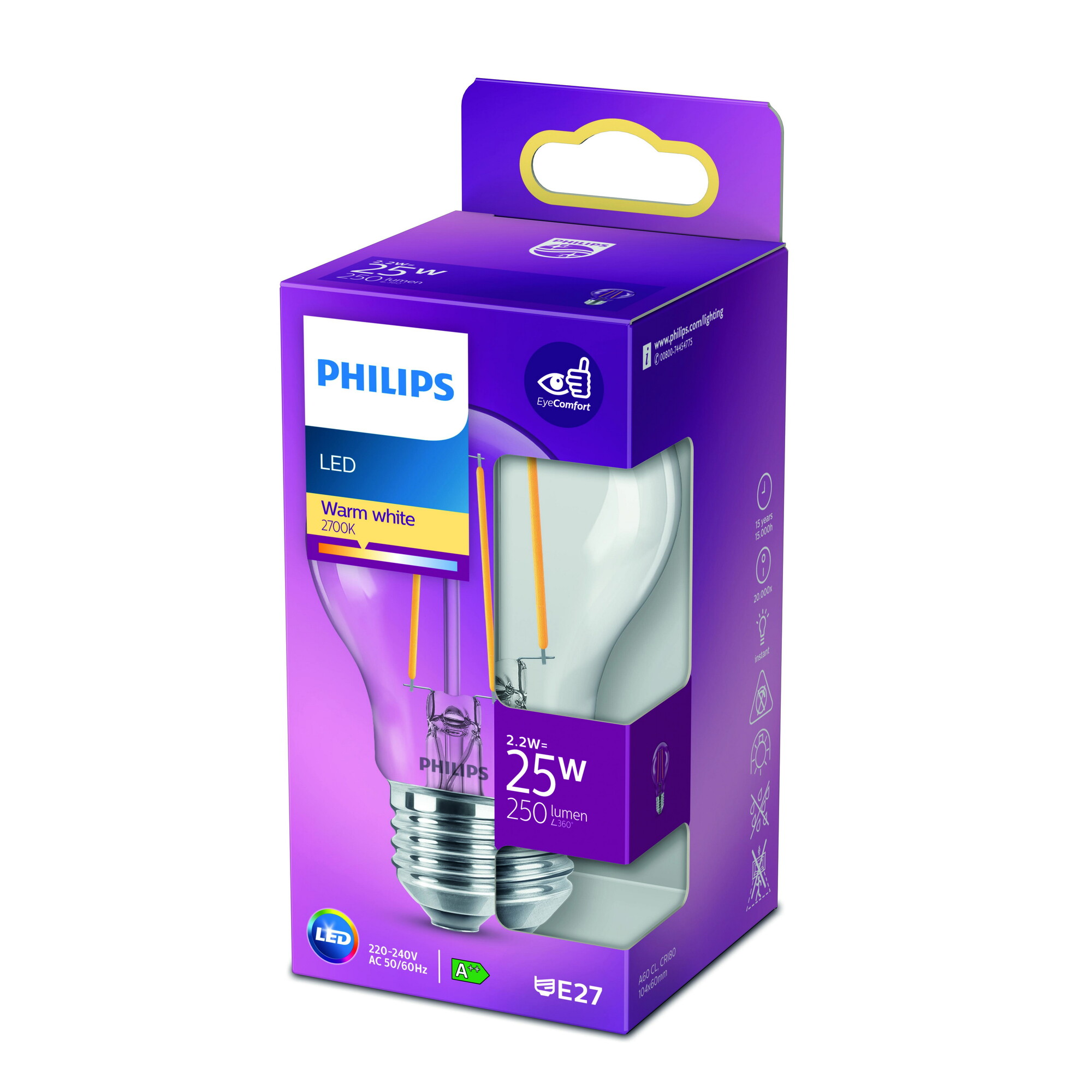 Philips LED classic E27 2,2W 250lm 2700K Lamp Transparant