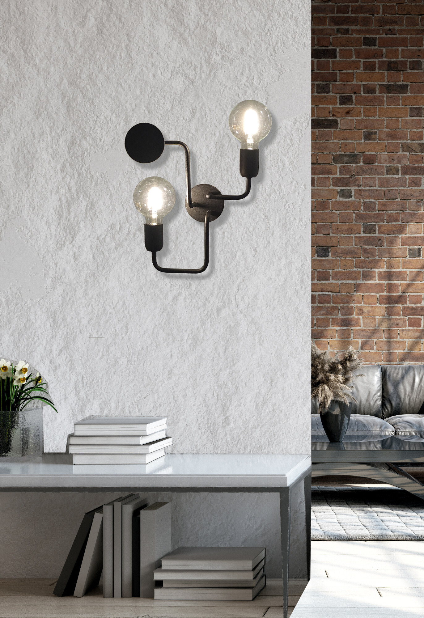CIRCUIT Wandlamp E27 2x Zwart