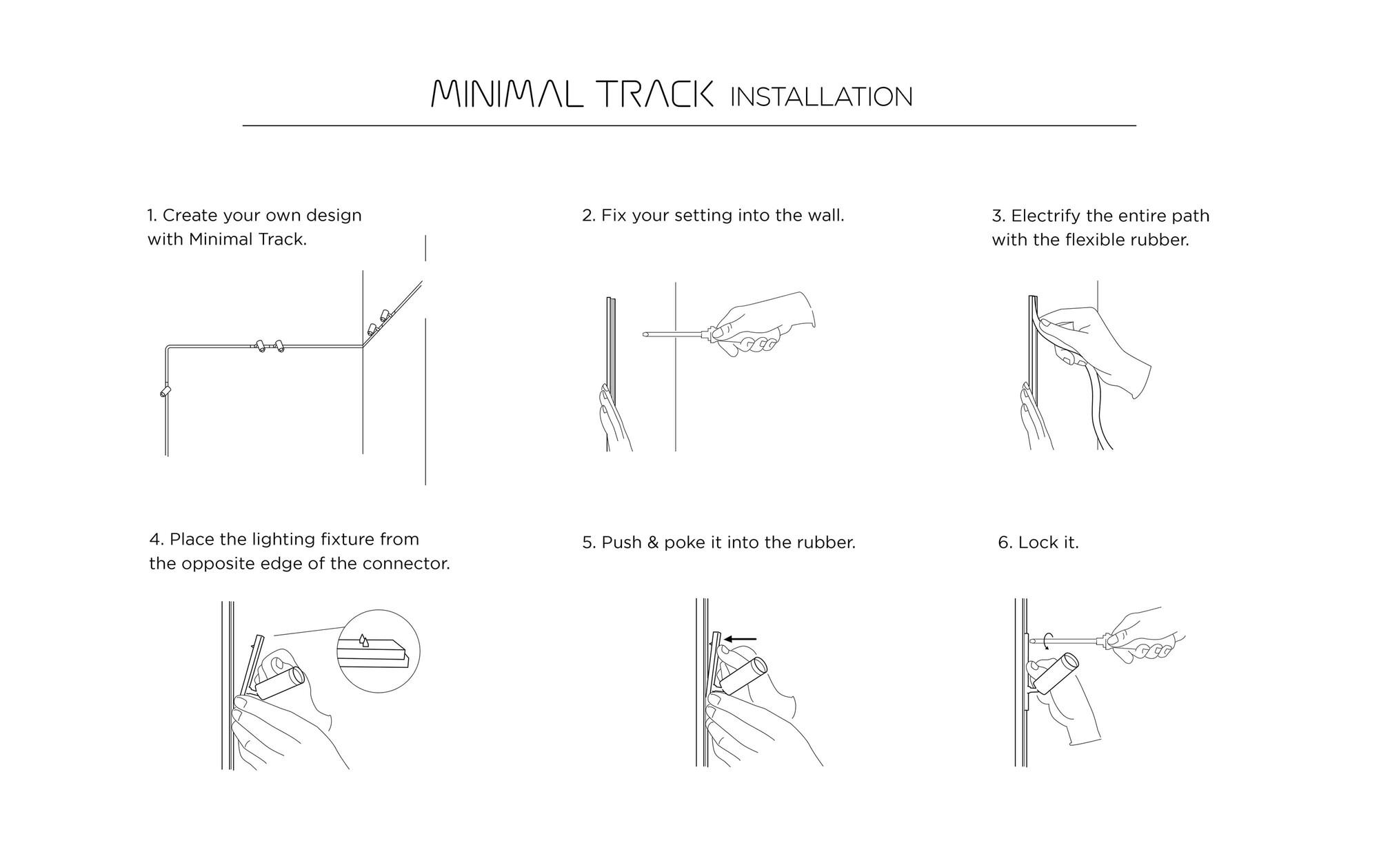 Minimal track 24V rubberen kabel Zwart