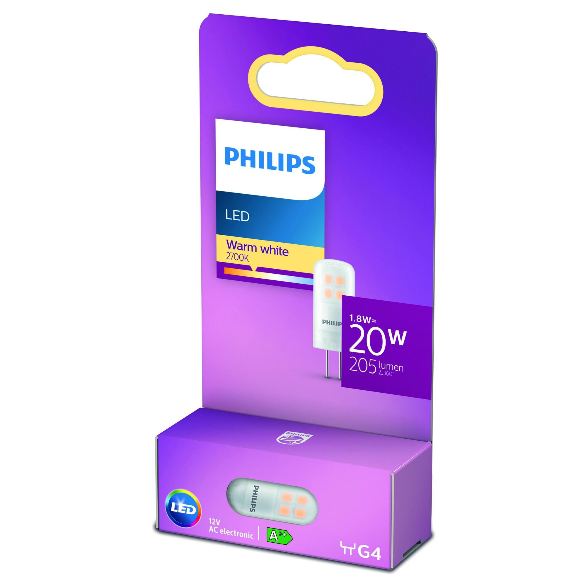 Philips LED G4 1,8W 205lm 2700K Capsule Transparant