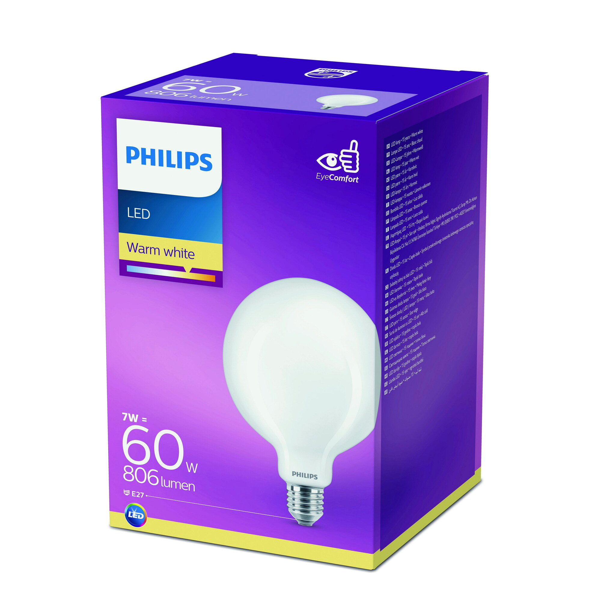 Philips LED classic E27 7W 806lm 2700K Globe Frosted