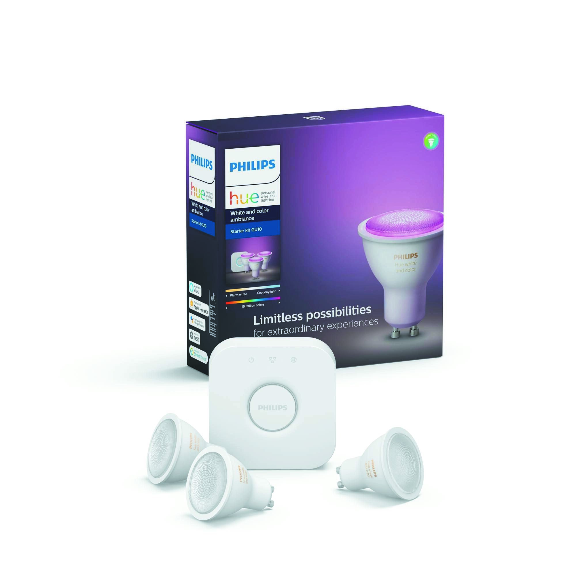 Philips HUE White and color ambiance GU10 6,5W 300lm 2000K-6500K Spot Transparant