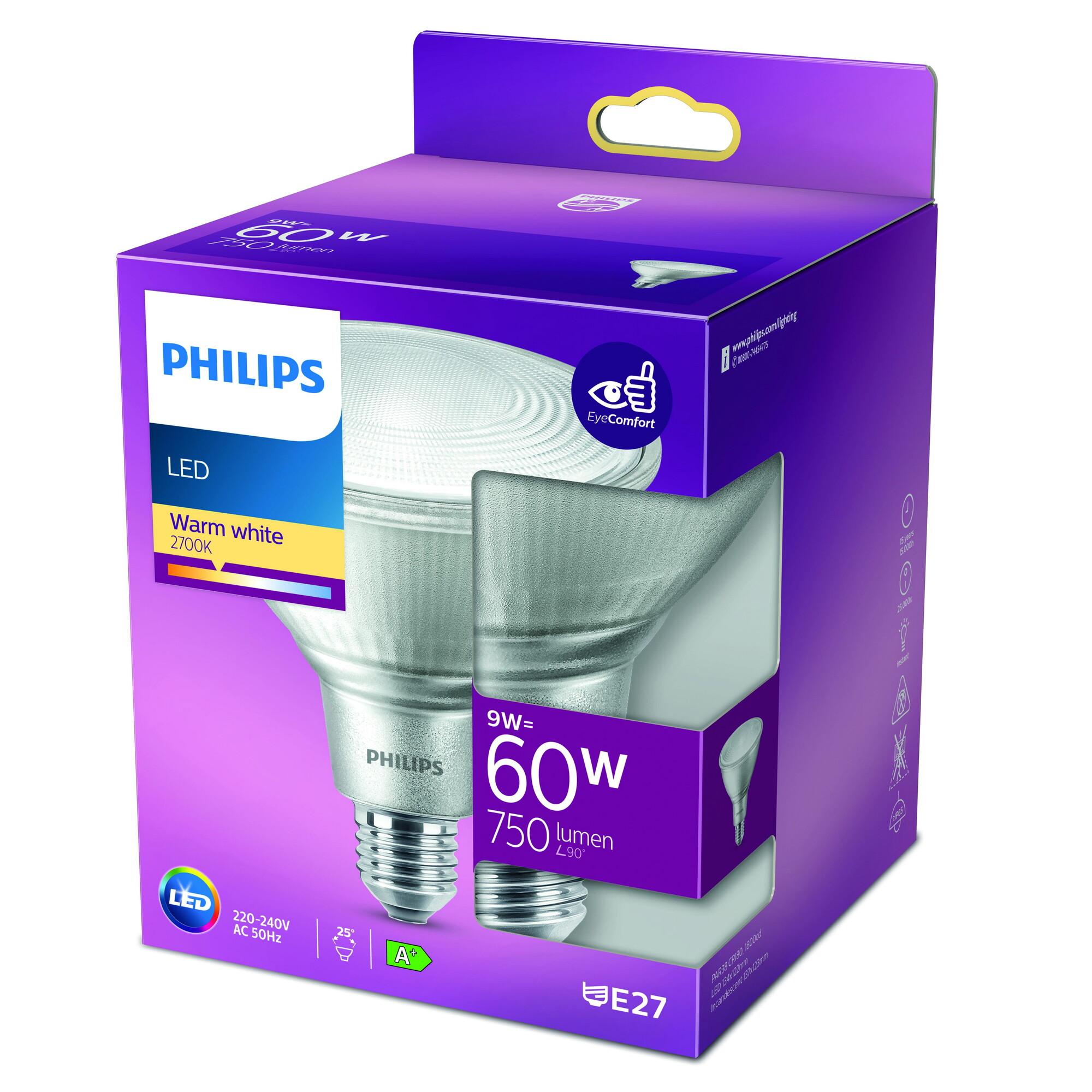 Philips LED classic E27 9W 850lm 2700K Reflector Transparant