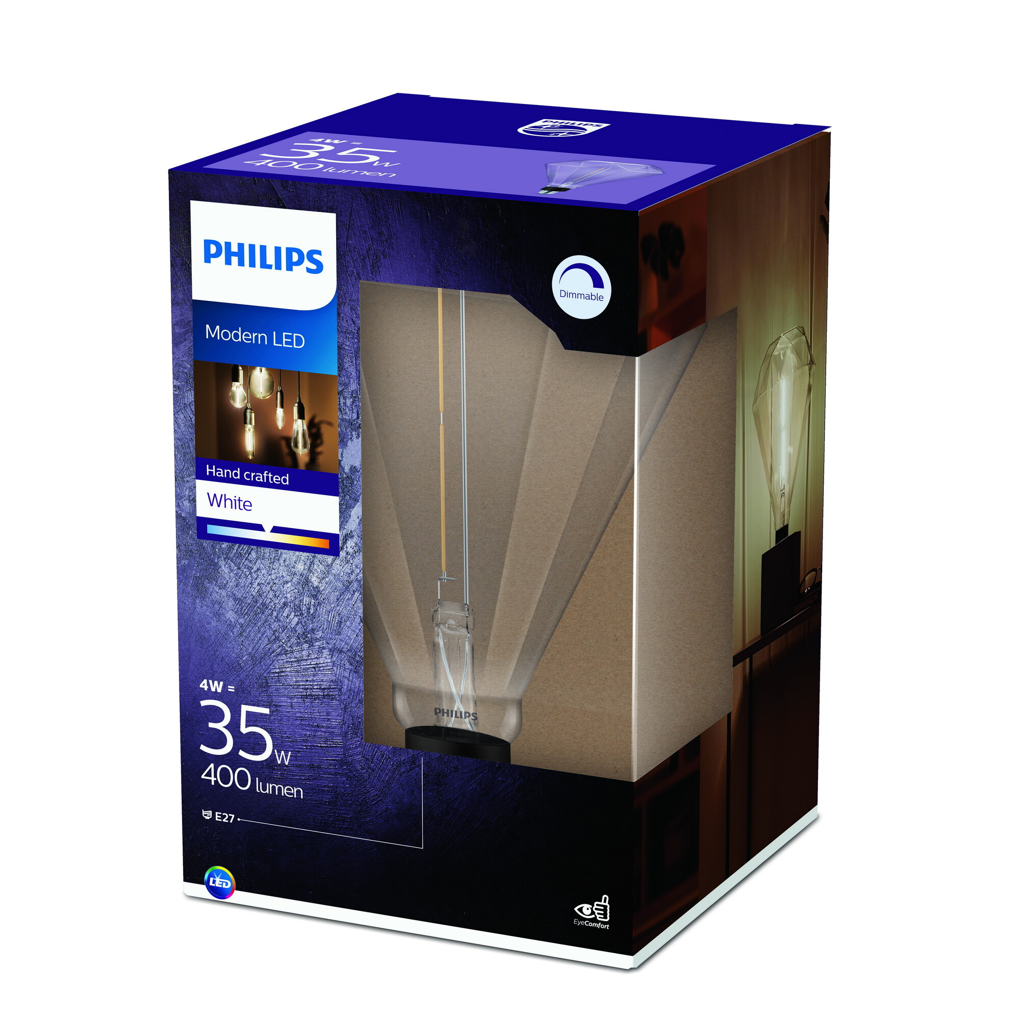 Philips LED E27 4W 400lm 3000K Transparant