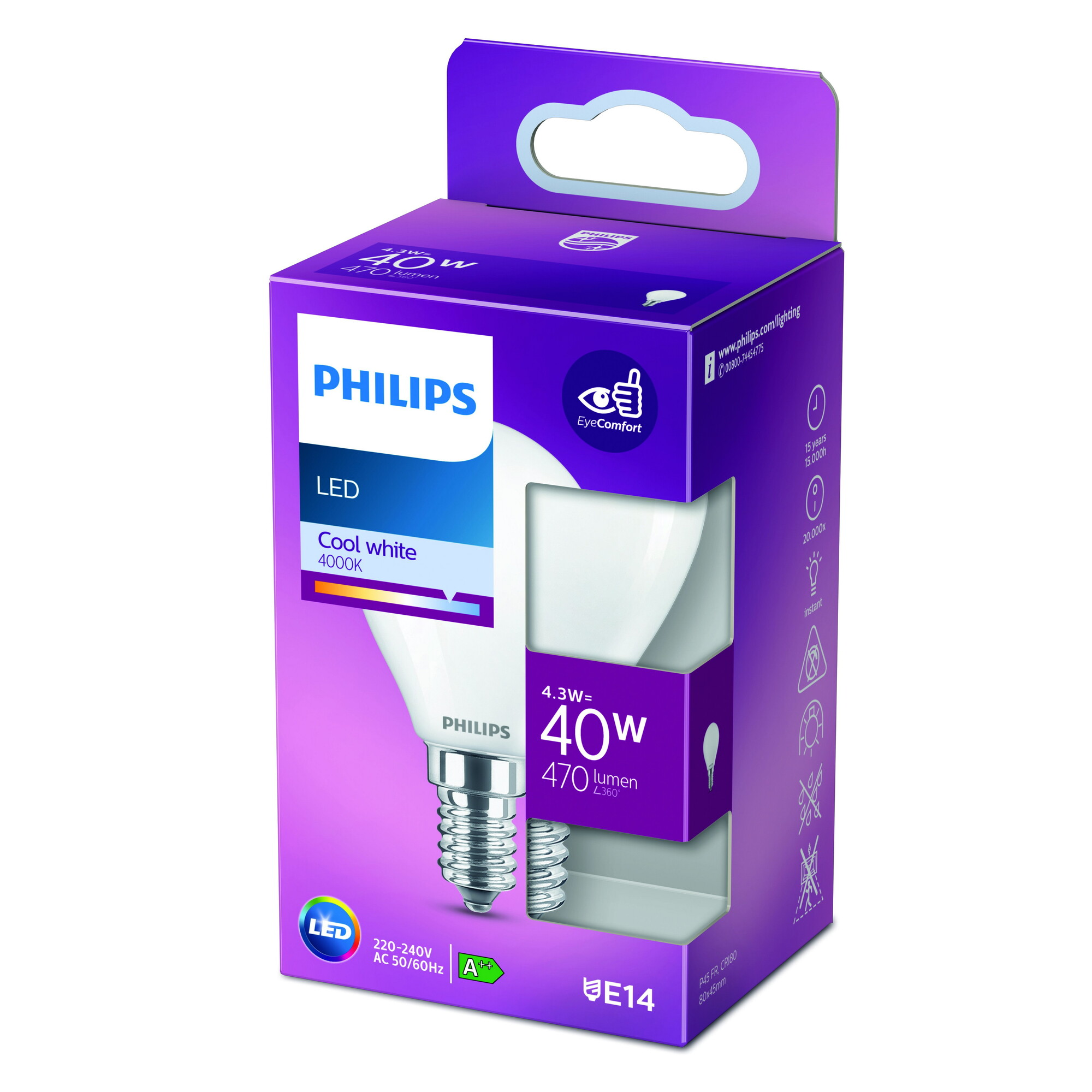 Philips LED classic E14 4,3W 470lm 4000K Kogel Frosted