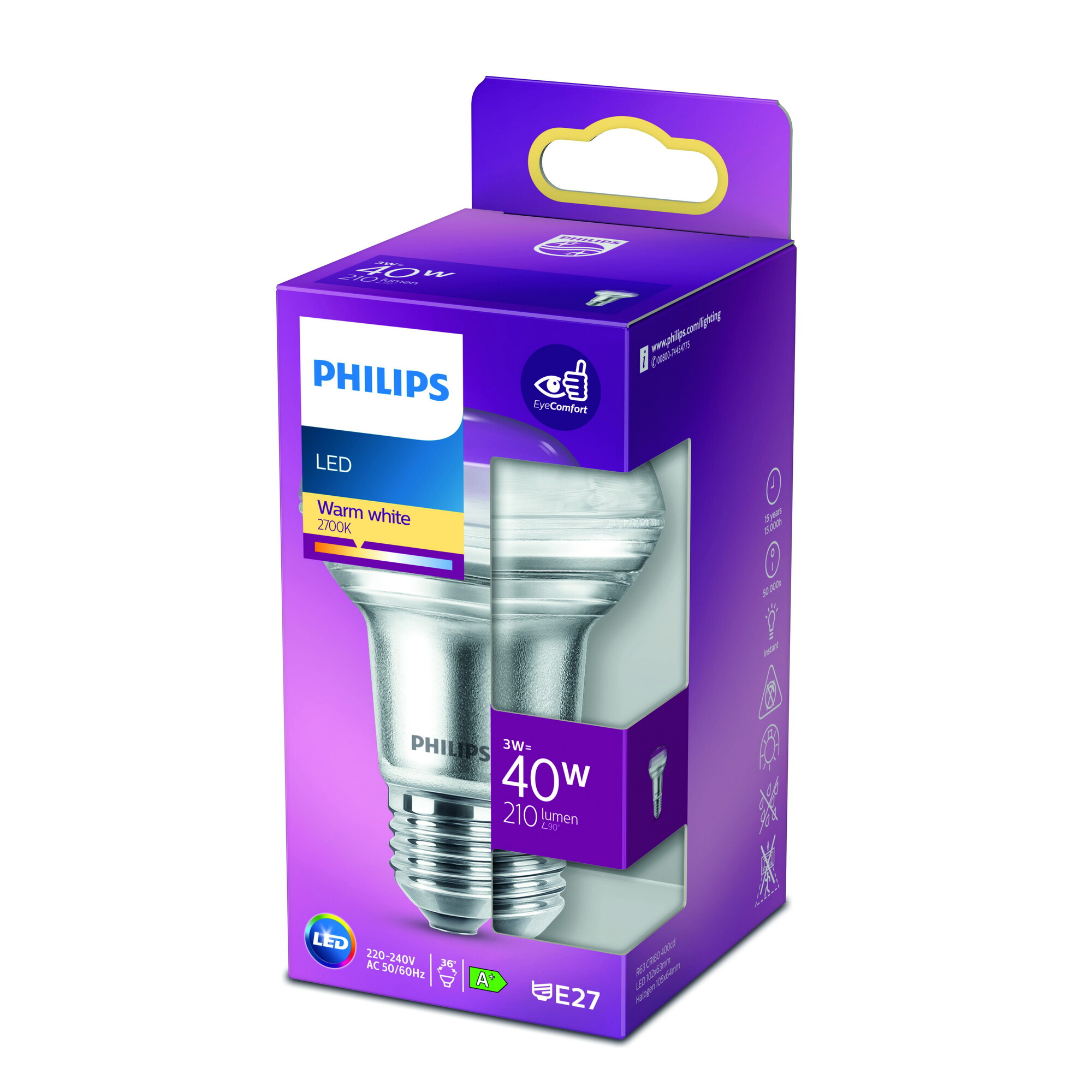 Philips LED E27 3W 255lm 2700K Reflector Transparant