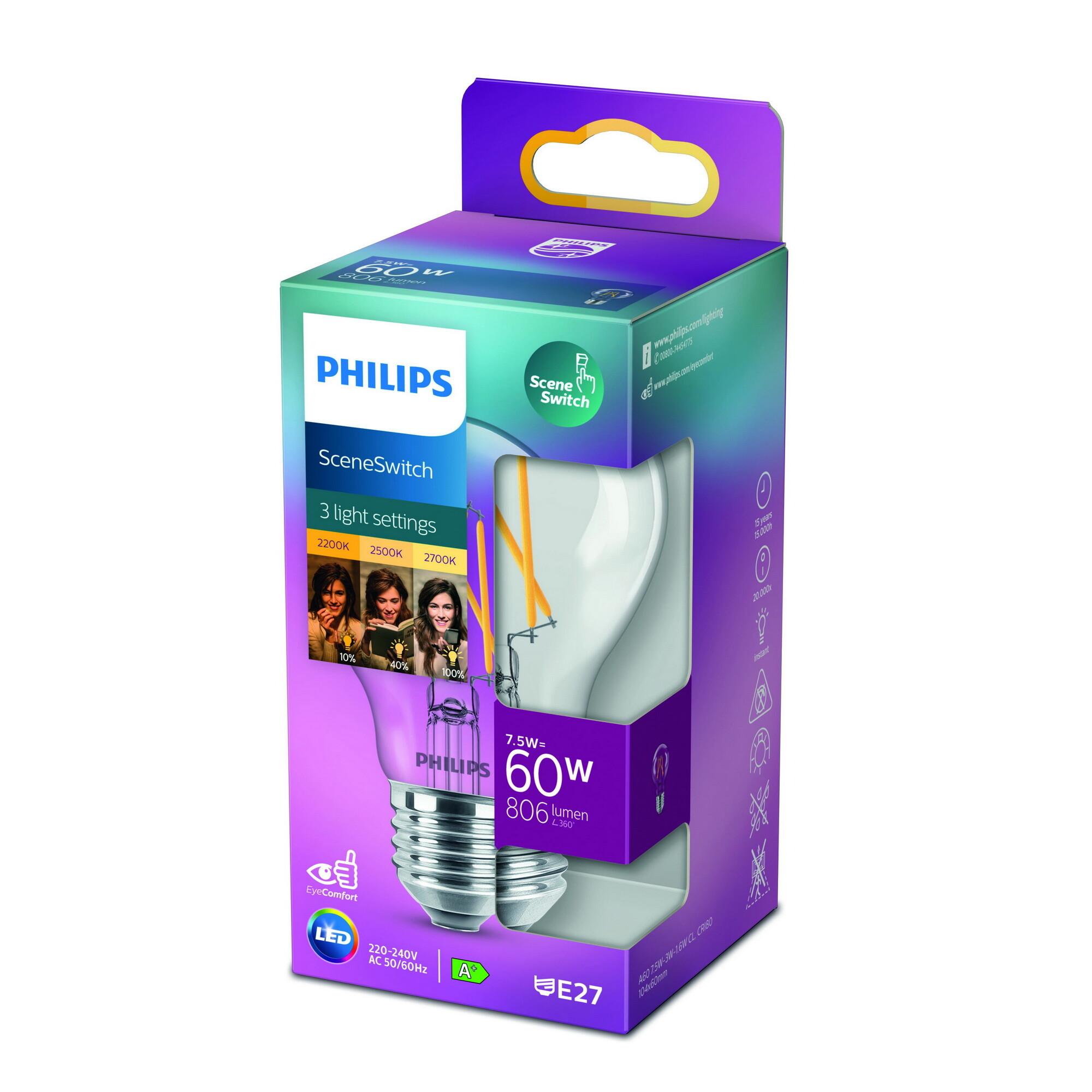 Philips LED classic E27 7,5W 806lm 2200K-2700K Lamp Transparant