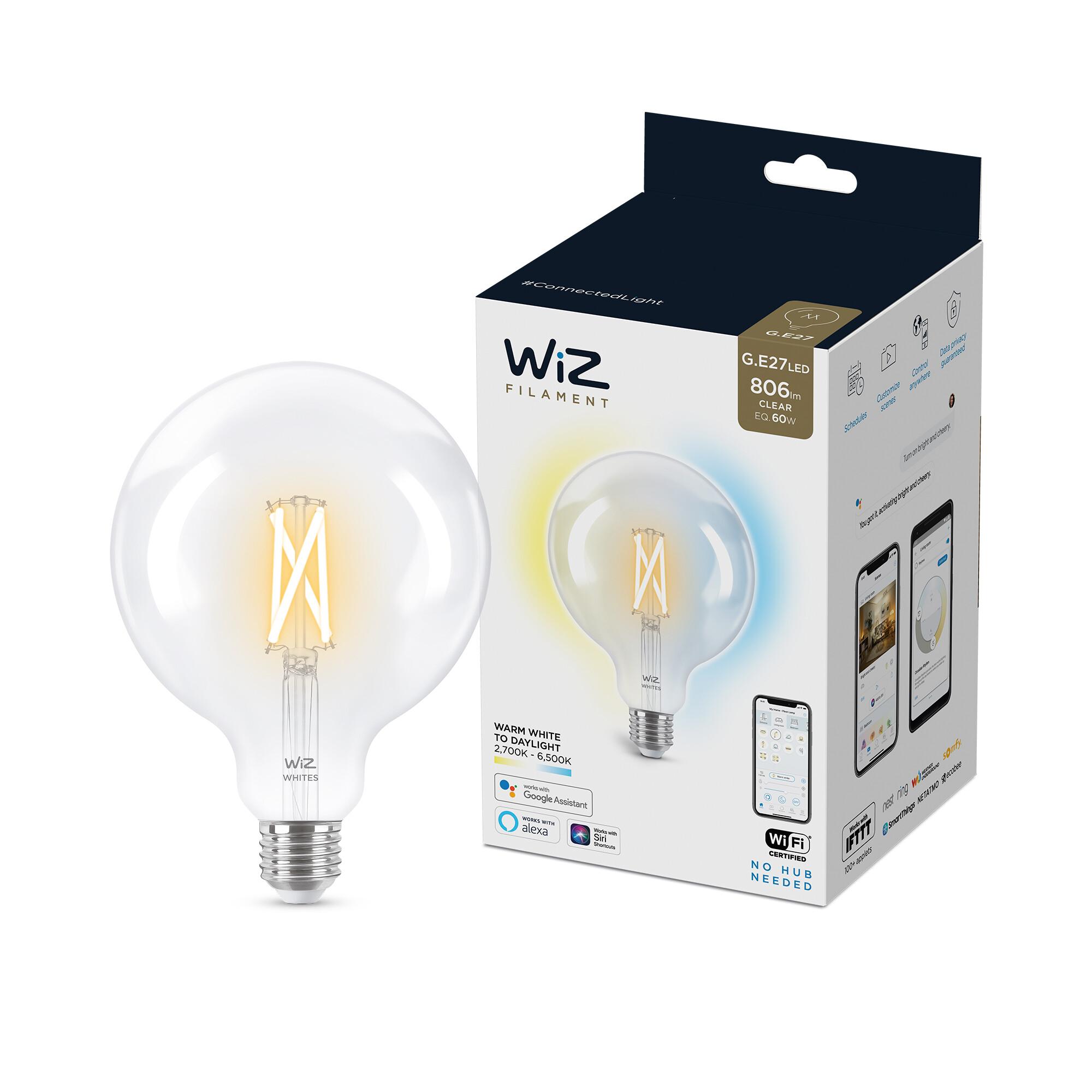 WiZ E27 60W 806lm 2700K Globe Transparant