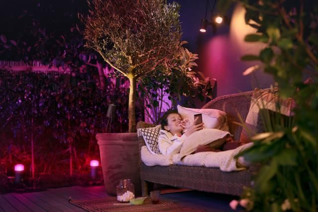 Philips HUE LILY Tuinspies LED 3x8W/600lm Zwart