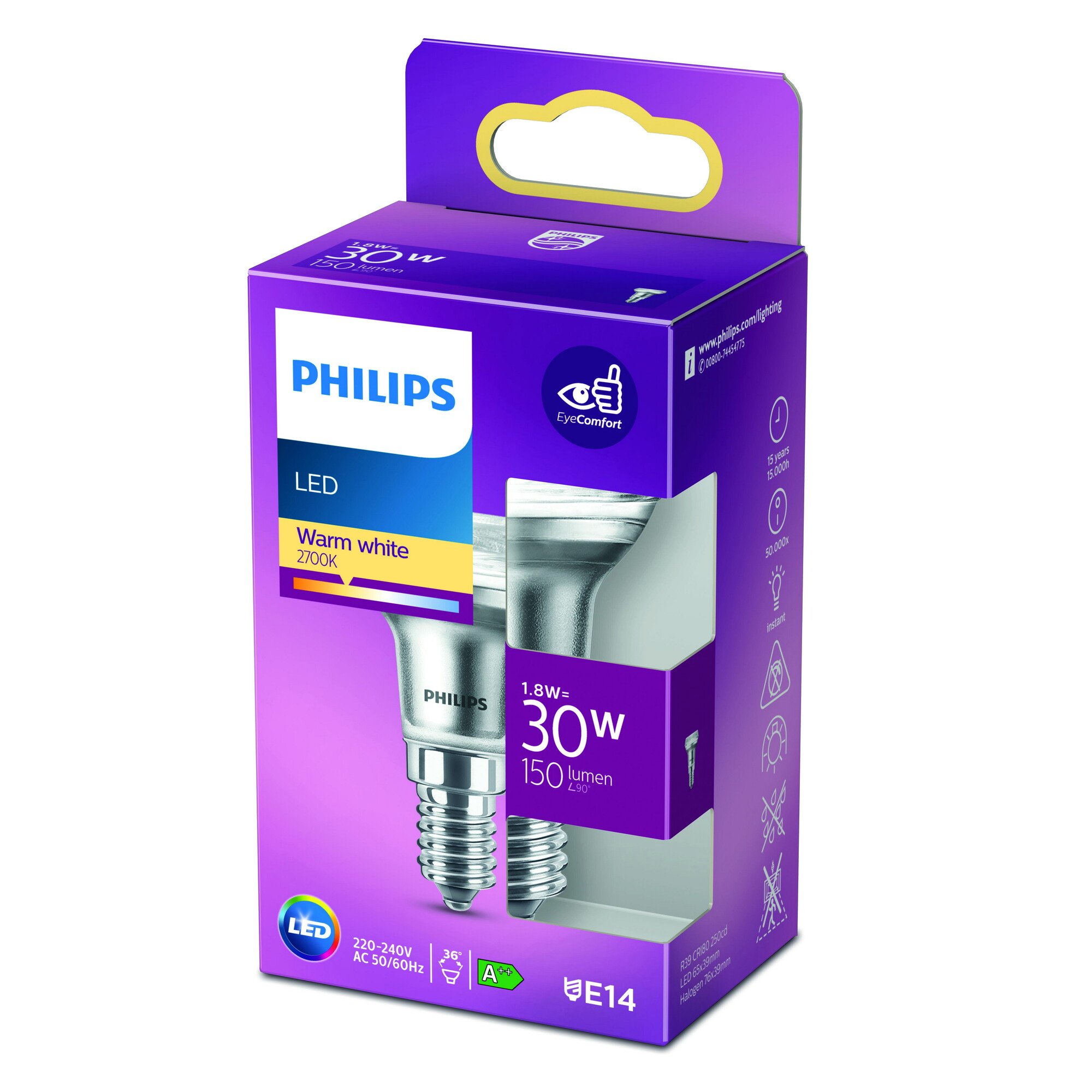 Philips LED classic E14 1,8W 190lm 2700K Reflector Transparant