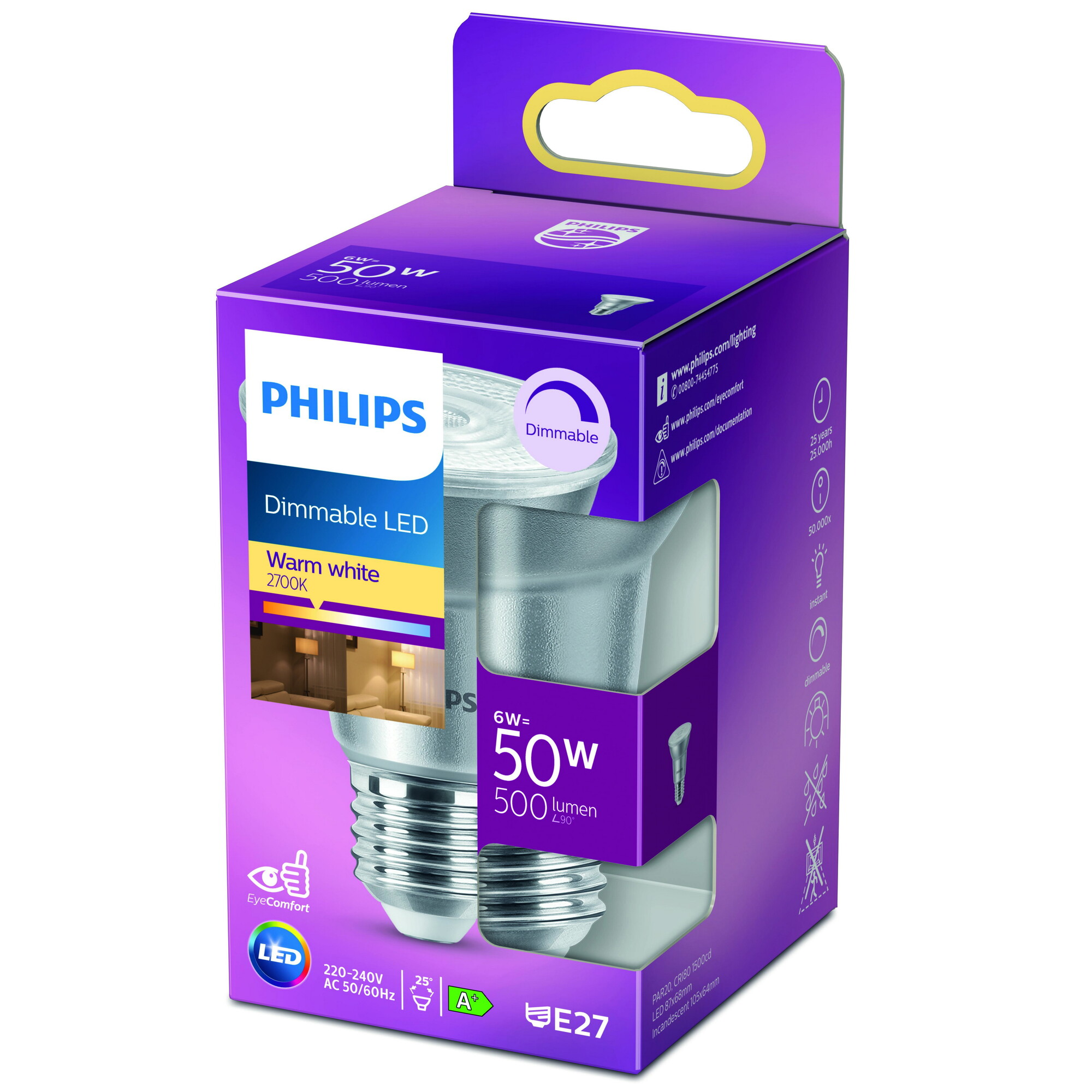 Philips LED classic E27 6W 500lm 2700K Reflector Transparant