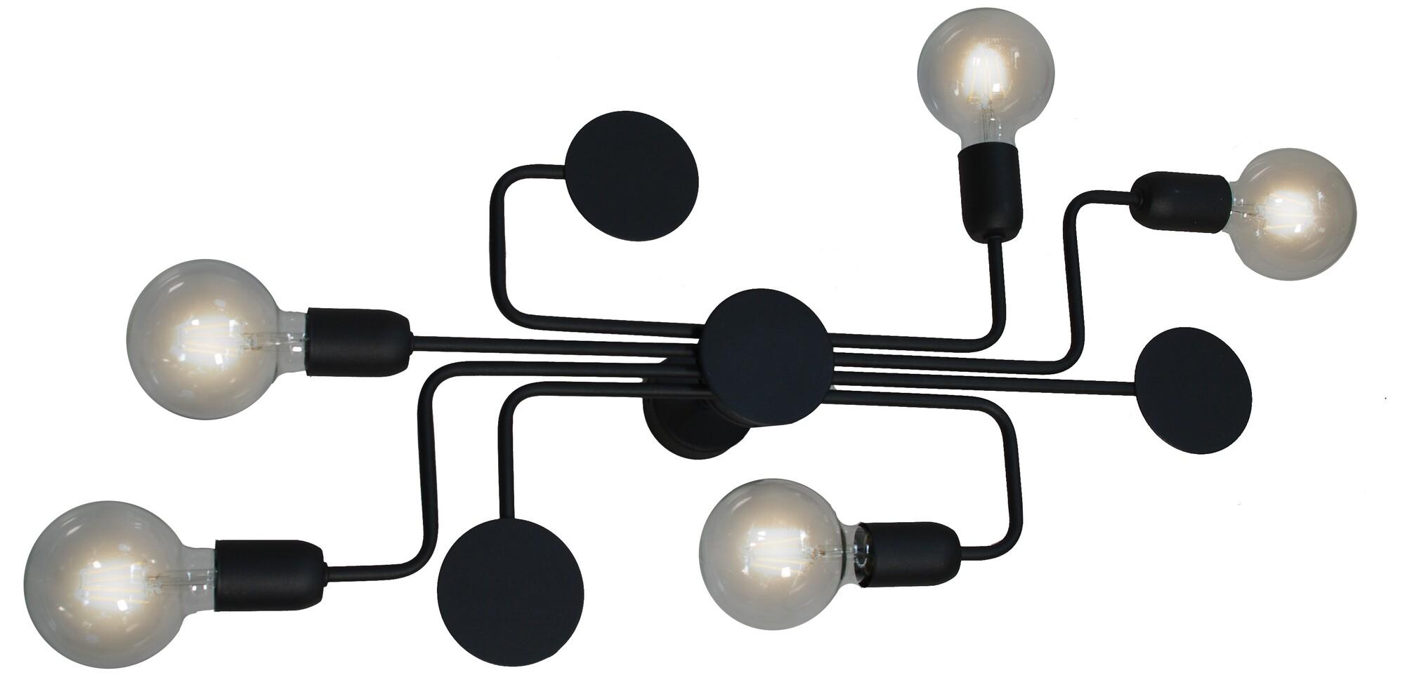 CIRCUIT Plafondlamp E27 6x Zwart