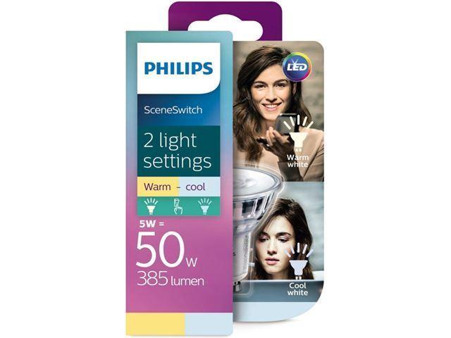 Philips LED SceneSwitch GU10 5W 385lm 2700K + 4000K Spot Transparent