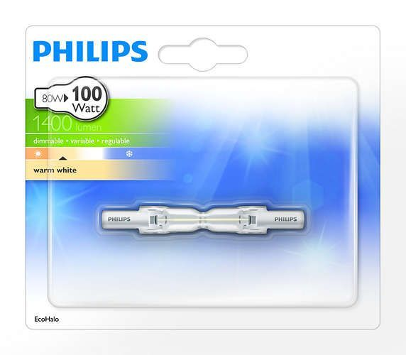 Philips ECOHALO R7s 78mm 80W 1415lm 2900K Capsule Transparant