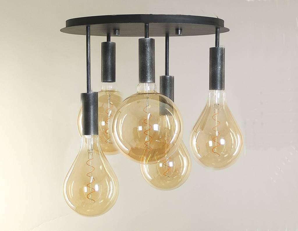 ALAMBO Plafondlamp E27 5x Zwart