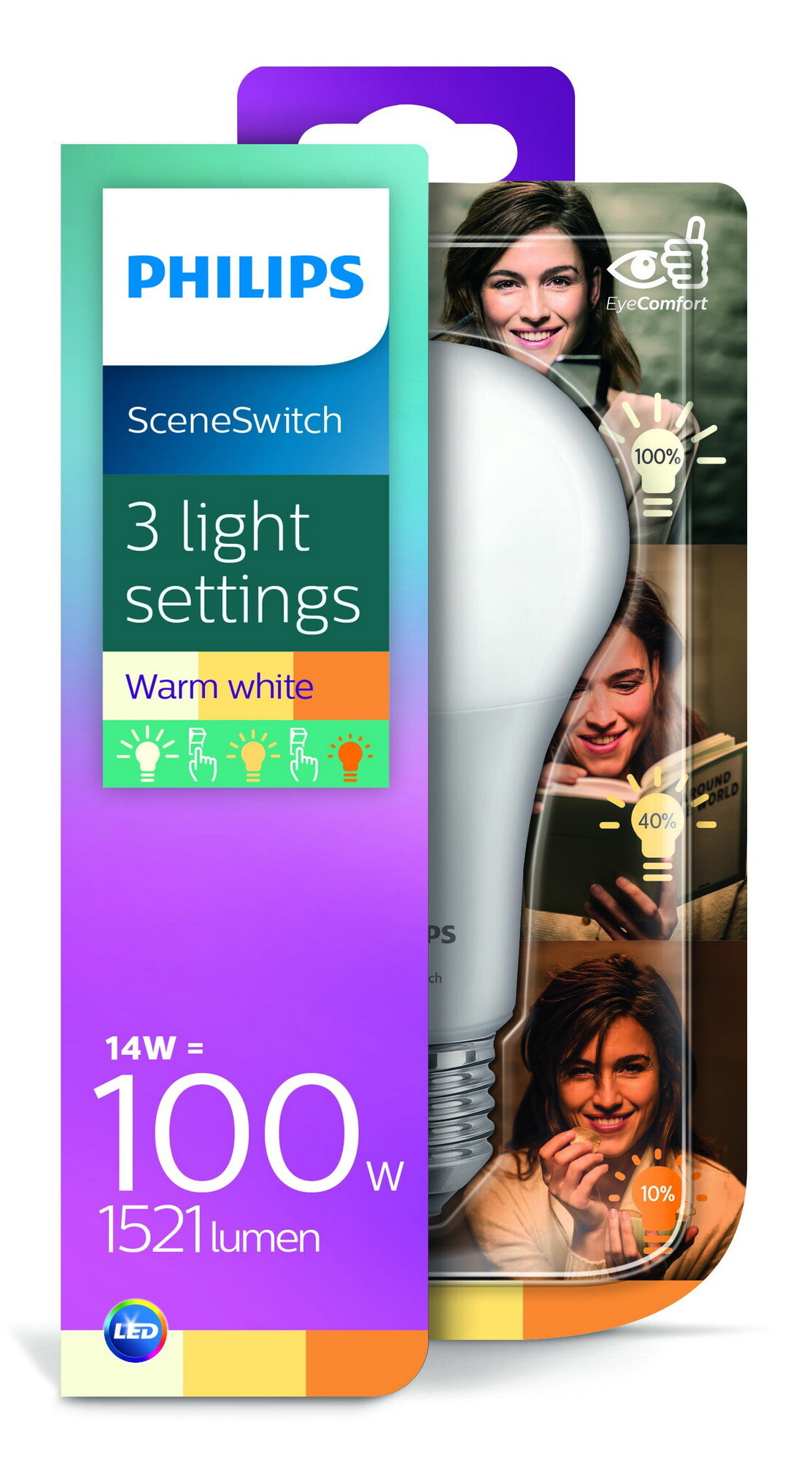 Philips LED SceneSwitch E27 14W 1521lm 2200K + 2500K + 2700K Lamp Frosted