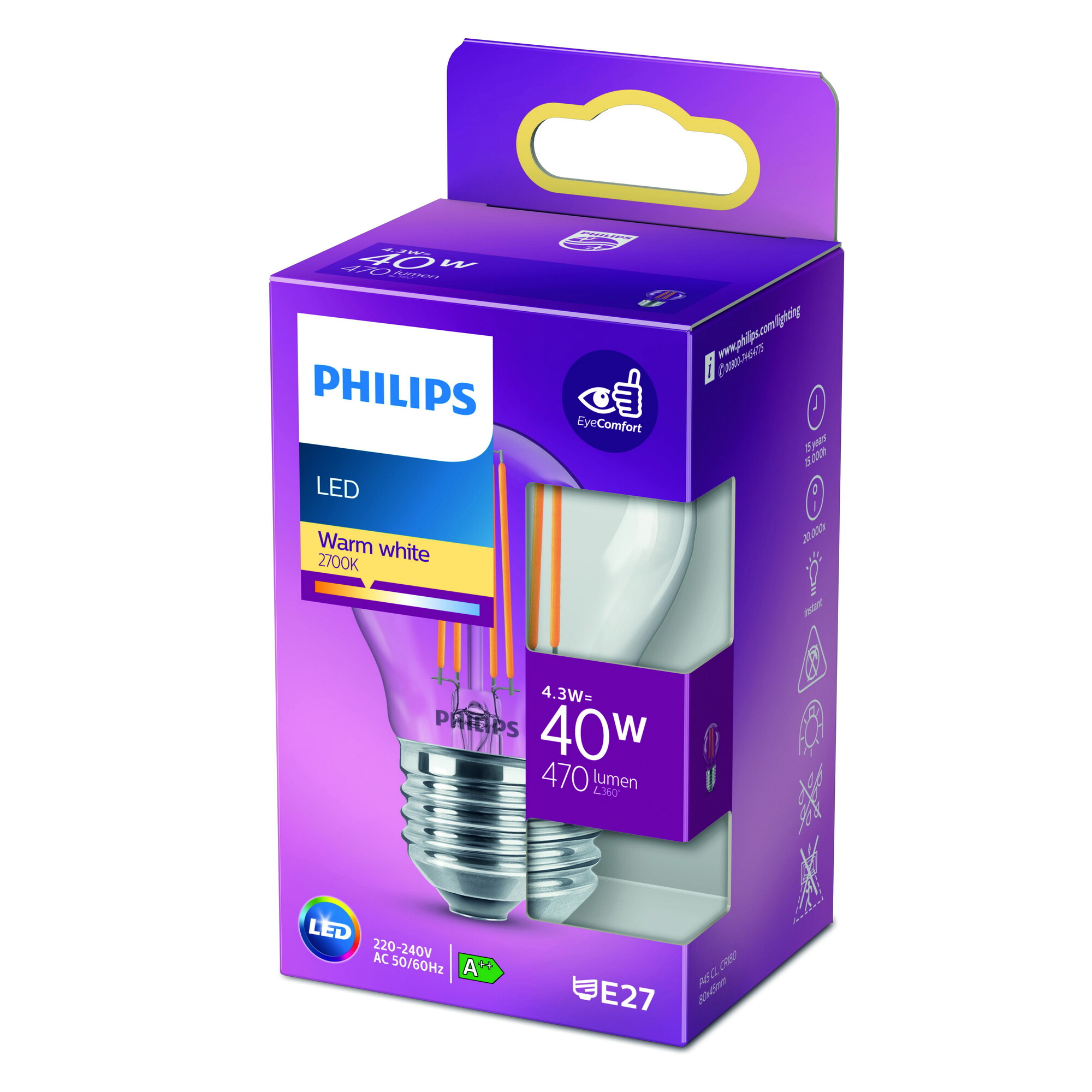 Philips LED classic E27 4,3W 470lm 2700K Kogel Transparant