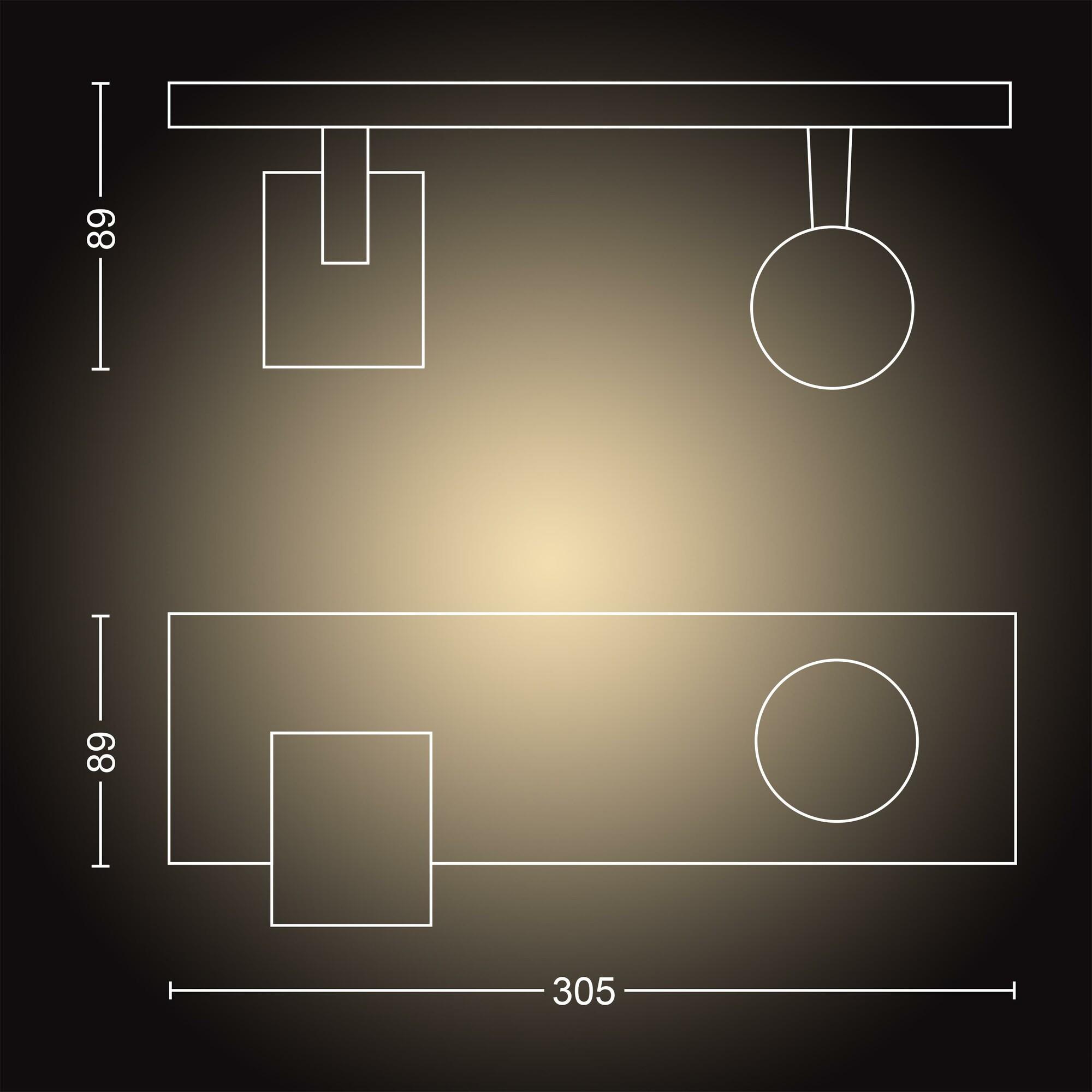 Philips HUE RUNNER Opbouwspot GU10 2x5W Zwart