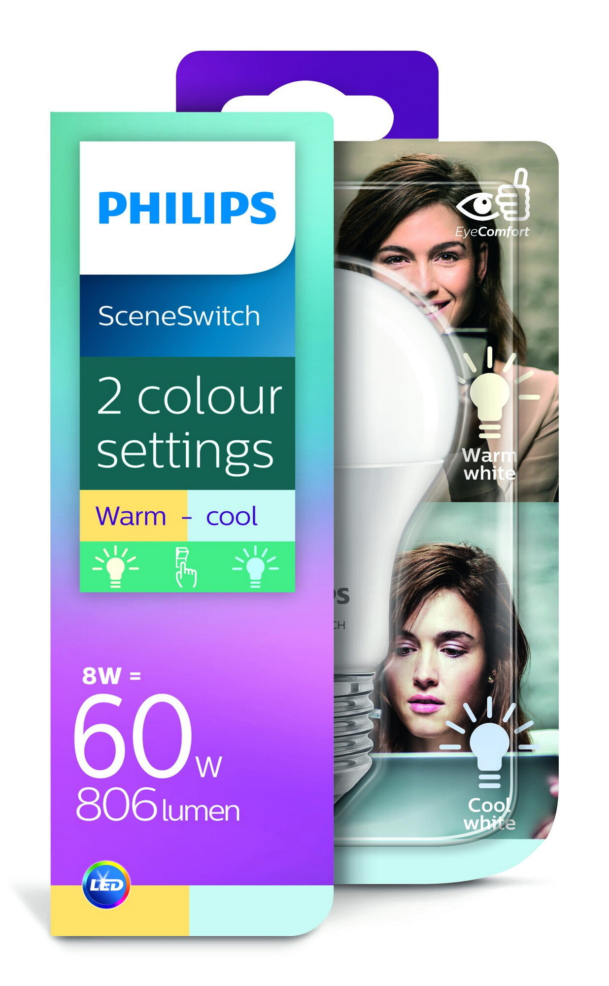 Philips LED SceneSwitch E27 8W 806lm 2700K + 4000K Lamp Frosted