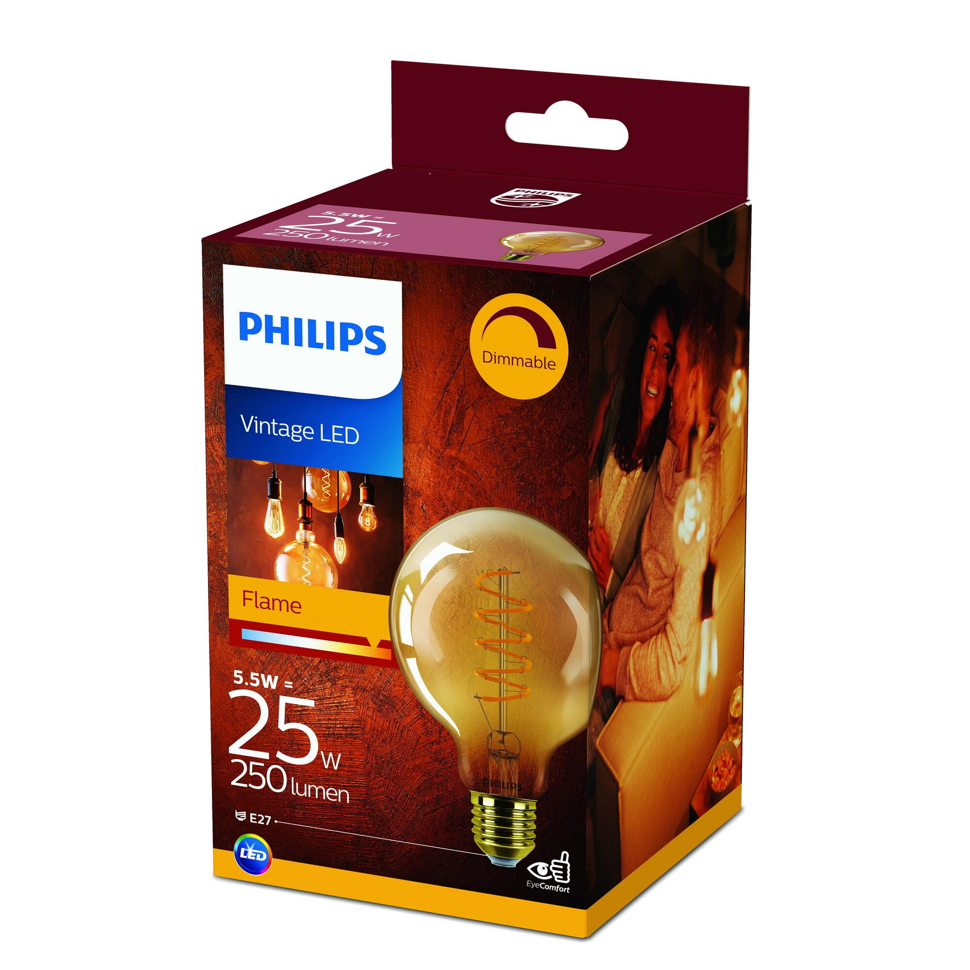 Philips LED classic E27 5,5W 250lm 2000K Globe Gouden coating