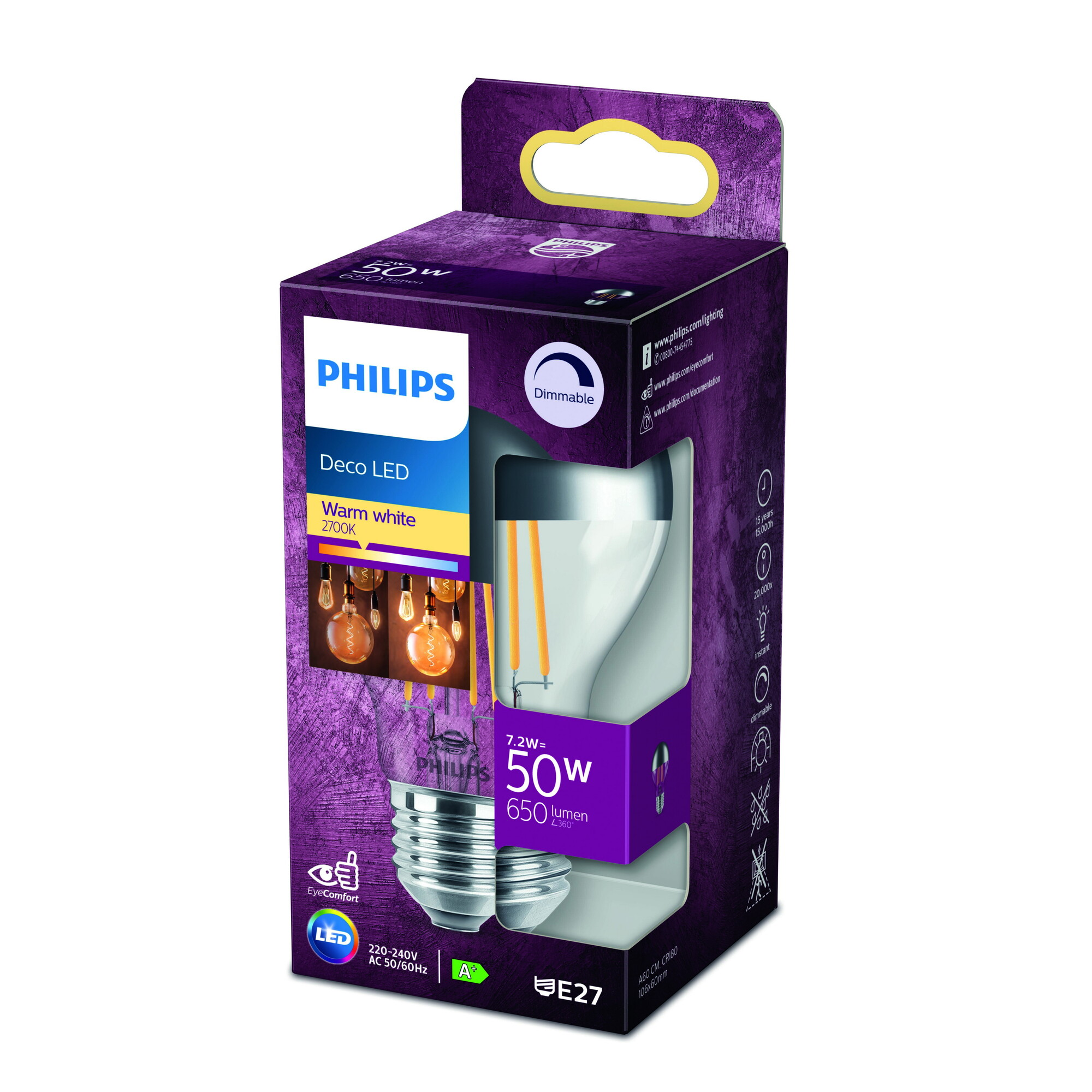 Philips LED classic E27 7,2W 650lm 2700K Lamp Gefumeerde coating