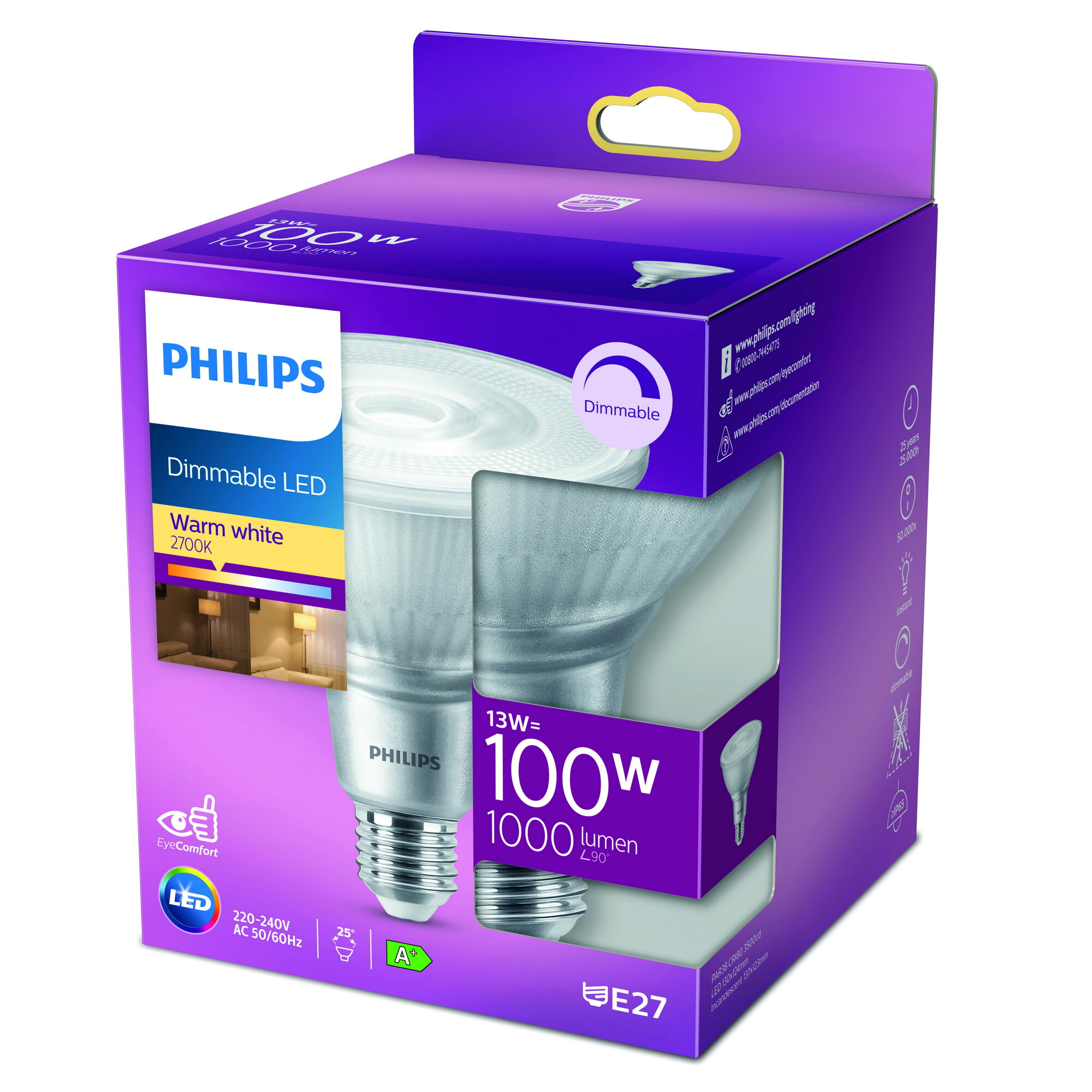 Philips LED classic E27 13W 1000lm 2700K Reflector Transparant