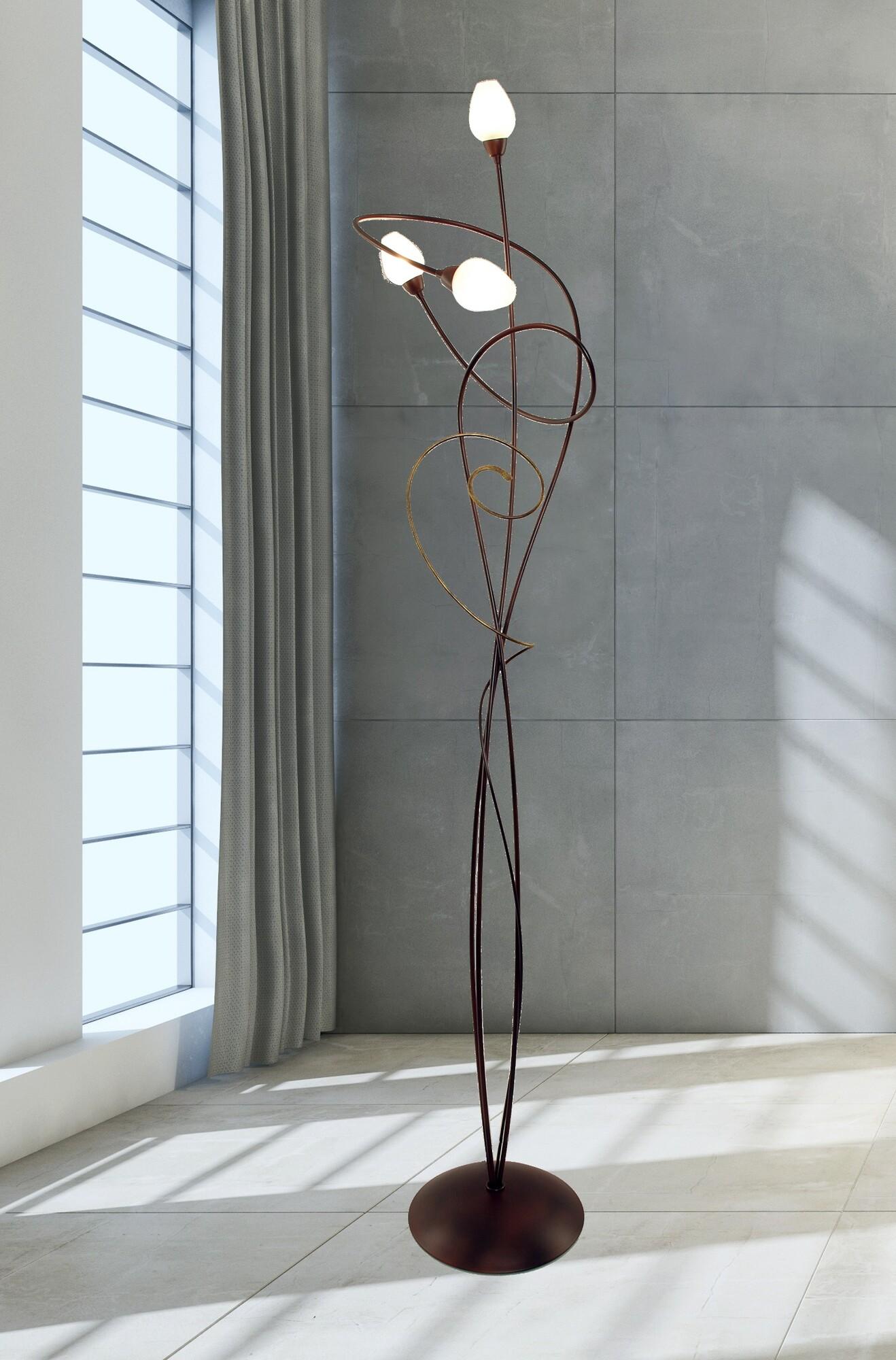 GHIRADA Vloerlamp G9 3x Bruin