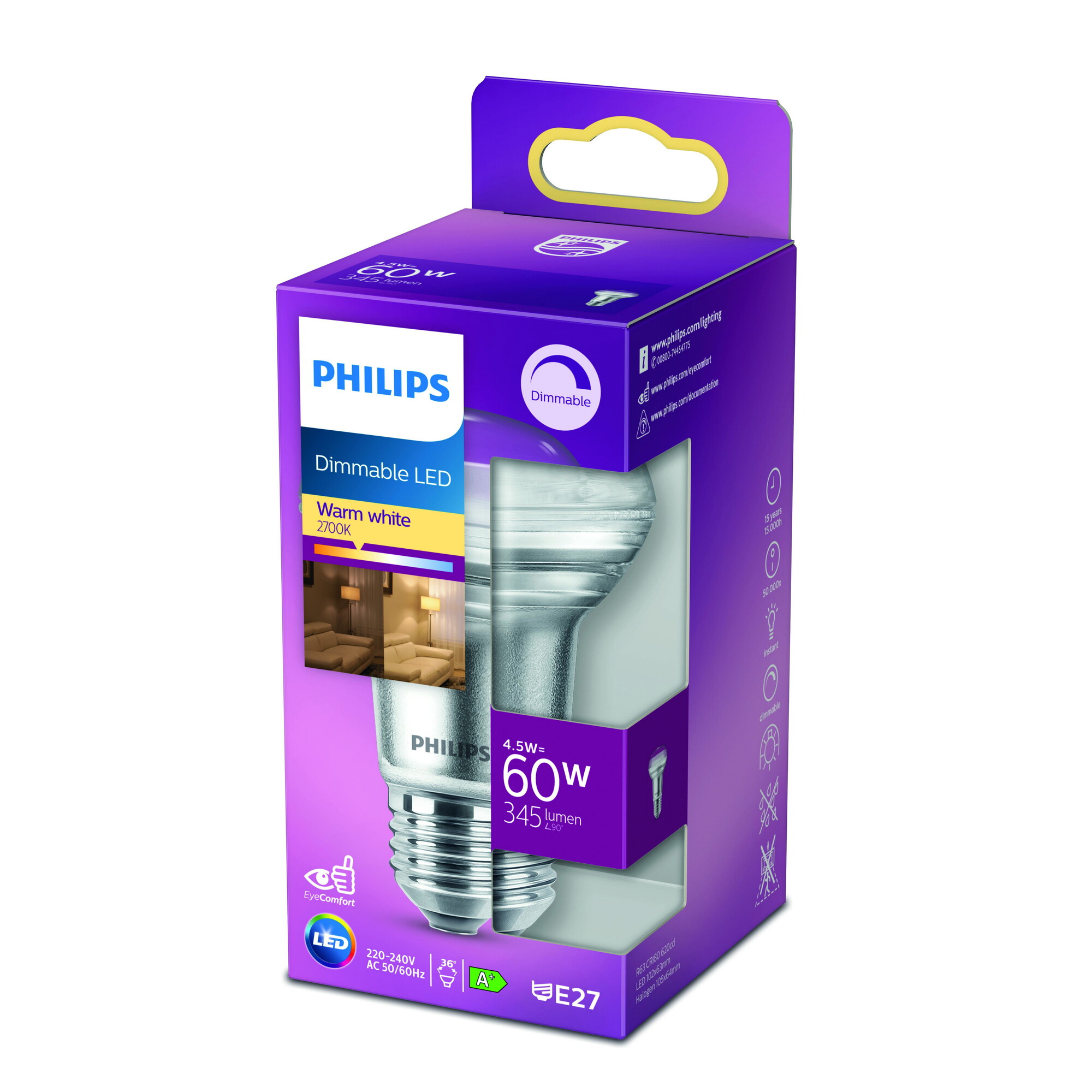 Philips LED E27 4,5W 410lm 2700K Reflector Transparant