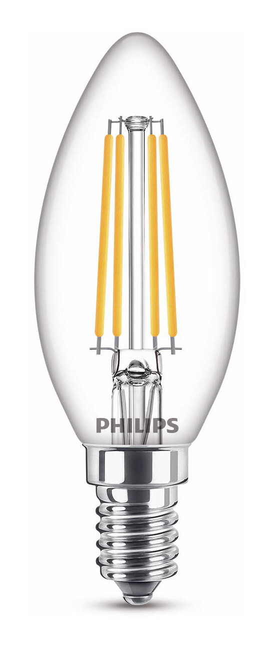 Philips LED classic E14 4,5W 470lm 2200K-2700K Flamme Transparent