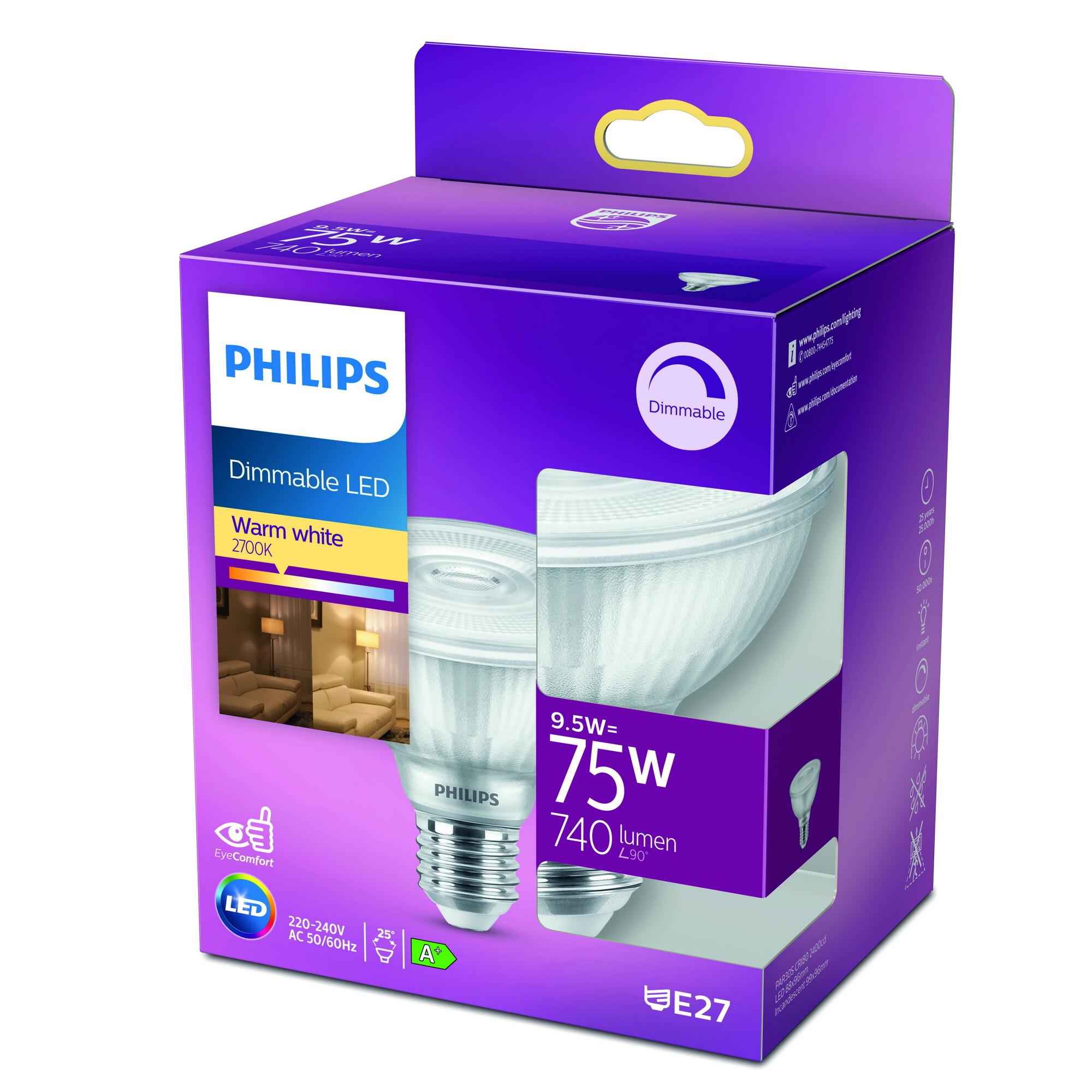 Philips LED classic E27 9,5W 740lm 2700K Reflector Transparant
