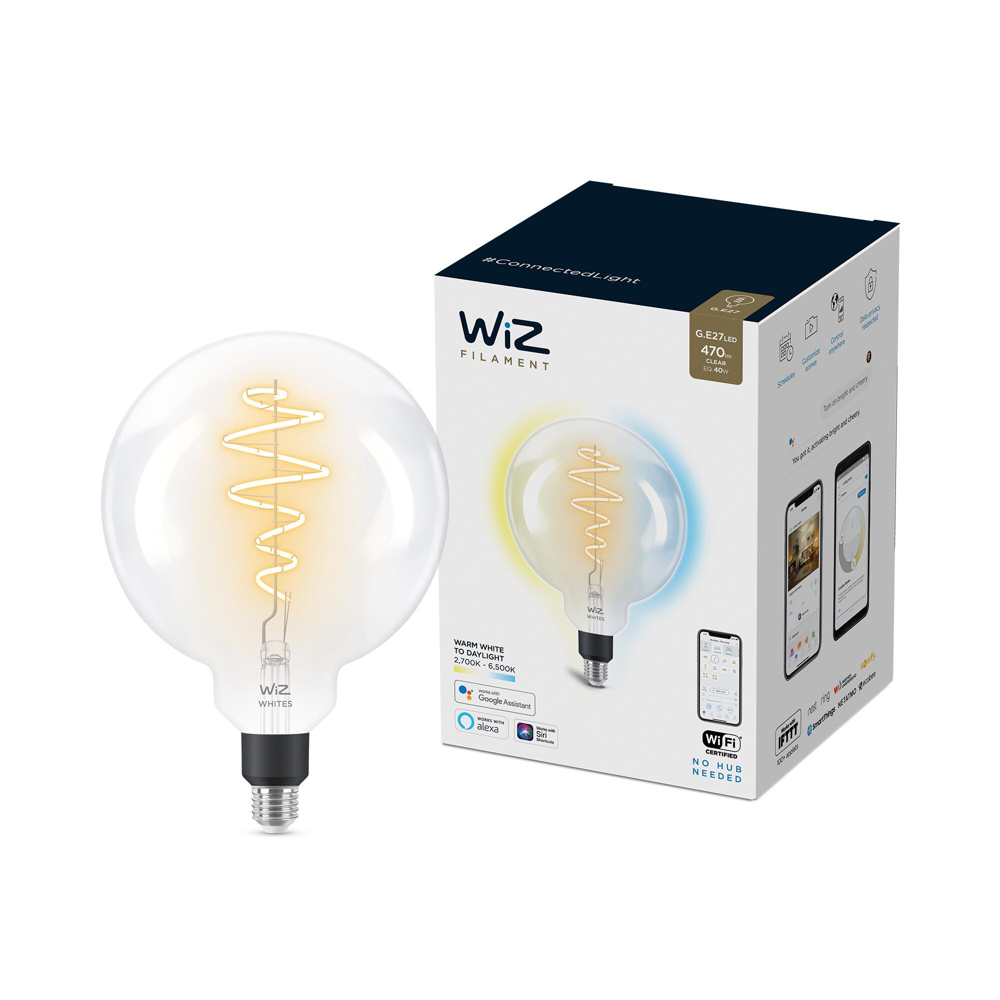 WiZ E27 40W 470lm 2700K Globe Transparant