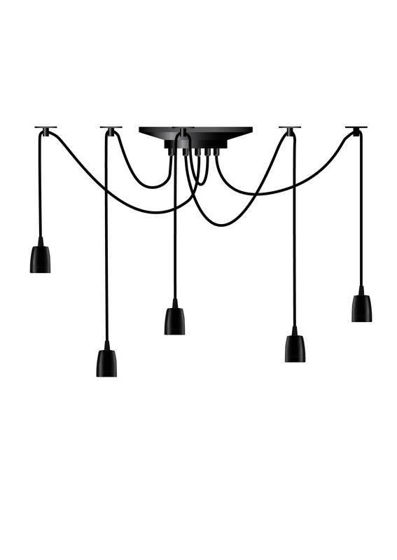 SPIDER Hanglamp E27 5x Zwart