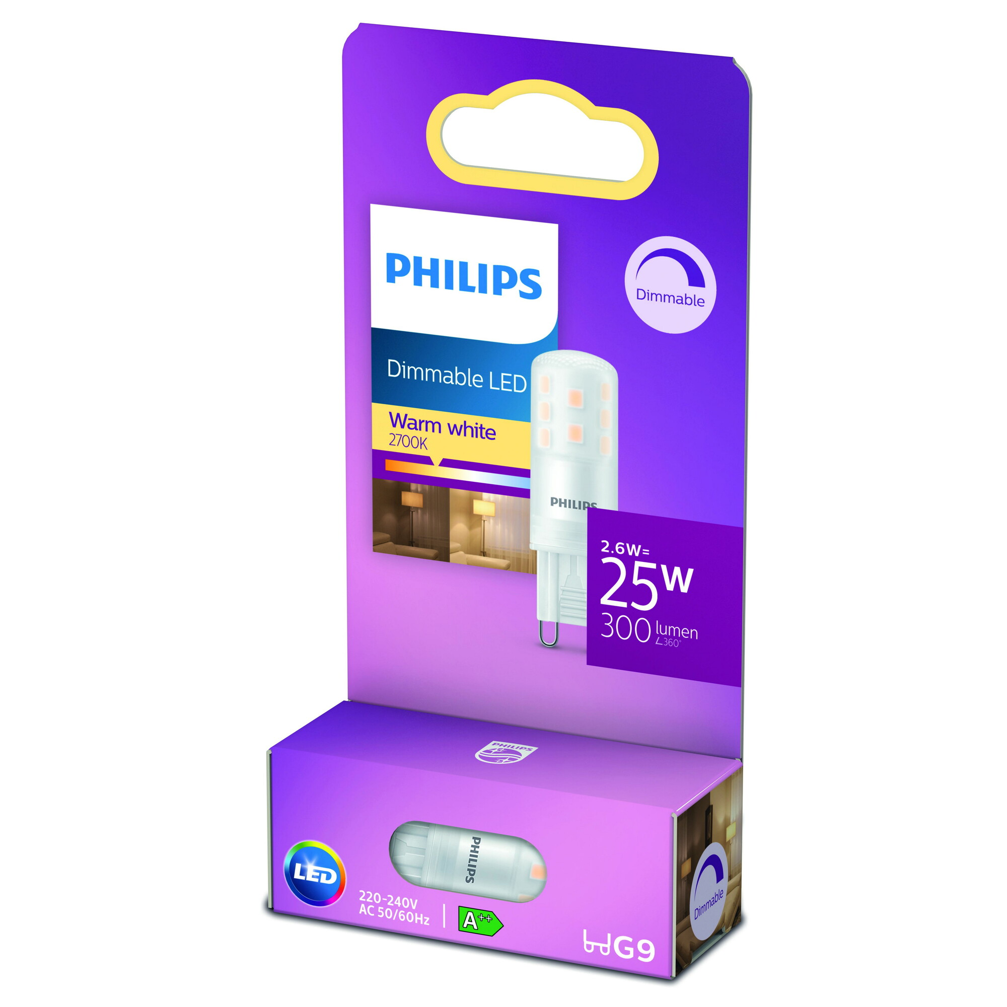Philips LED G9 2,6W 300lm 2700K Capsule Transparant