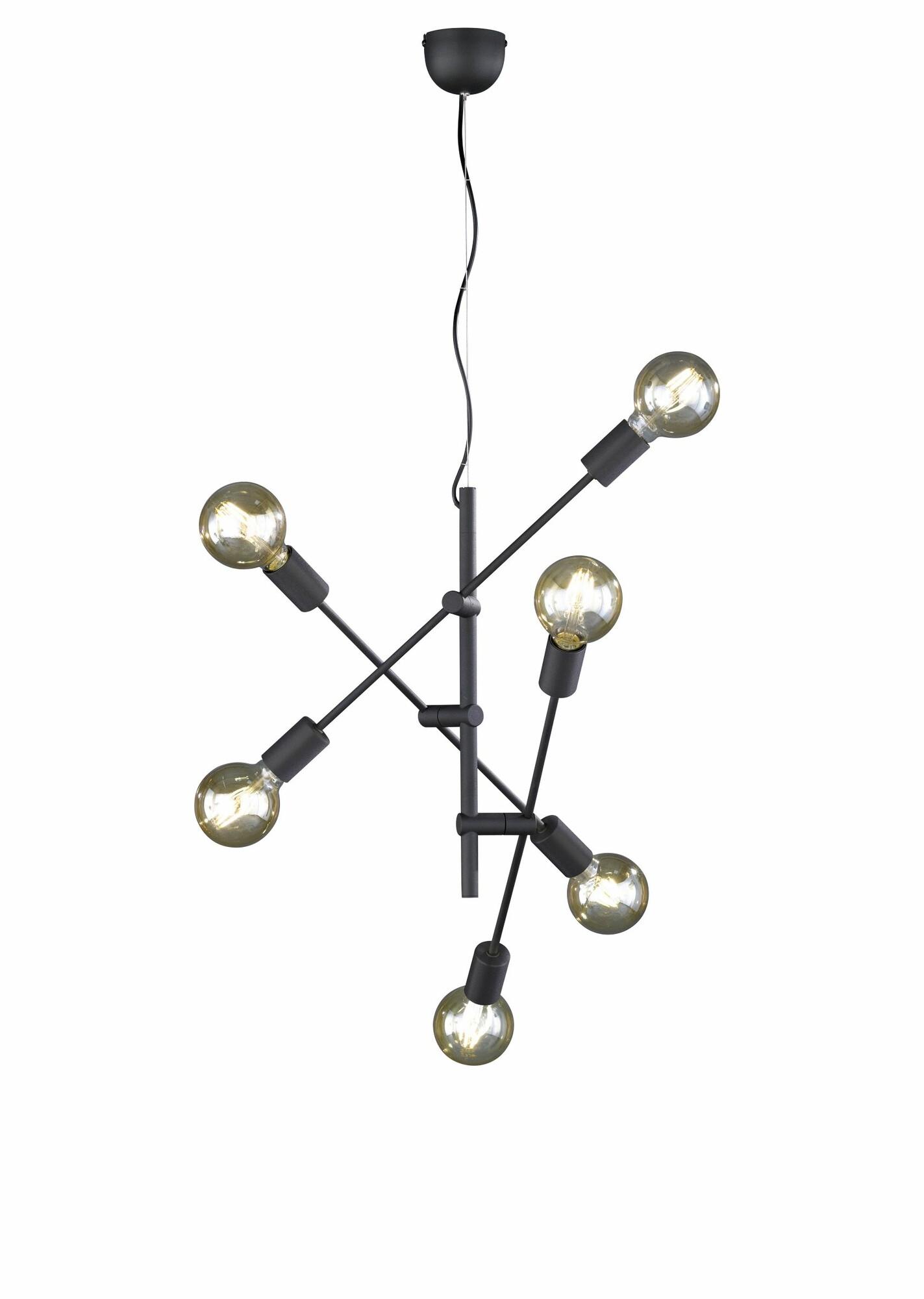 CRASS Hanglamp E27 6x Zwart