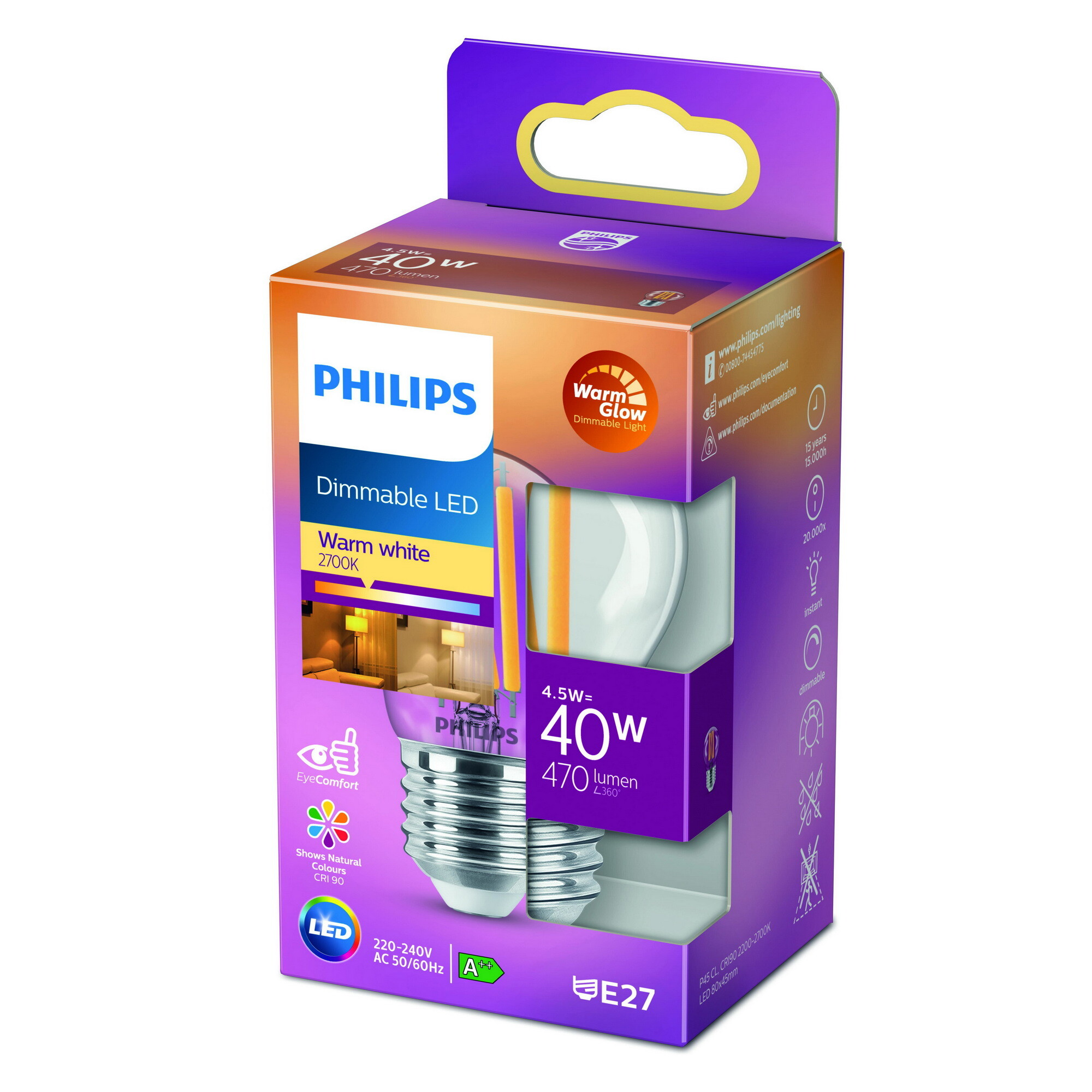 Philips LED classic E27 4,5W 470lm 2200K-2700K Kogel Transparant