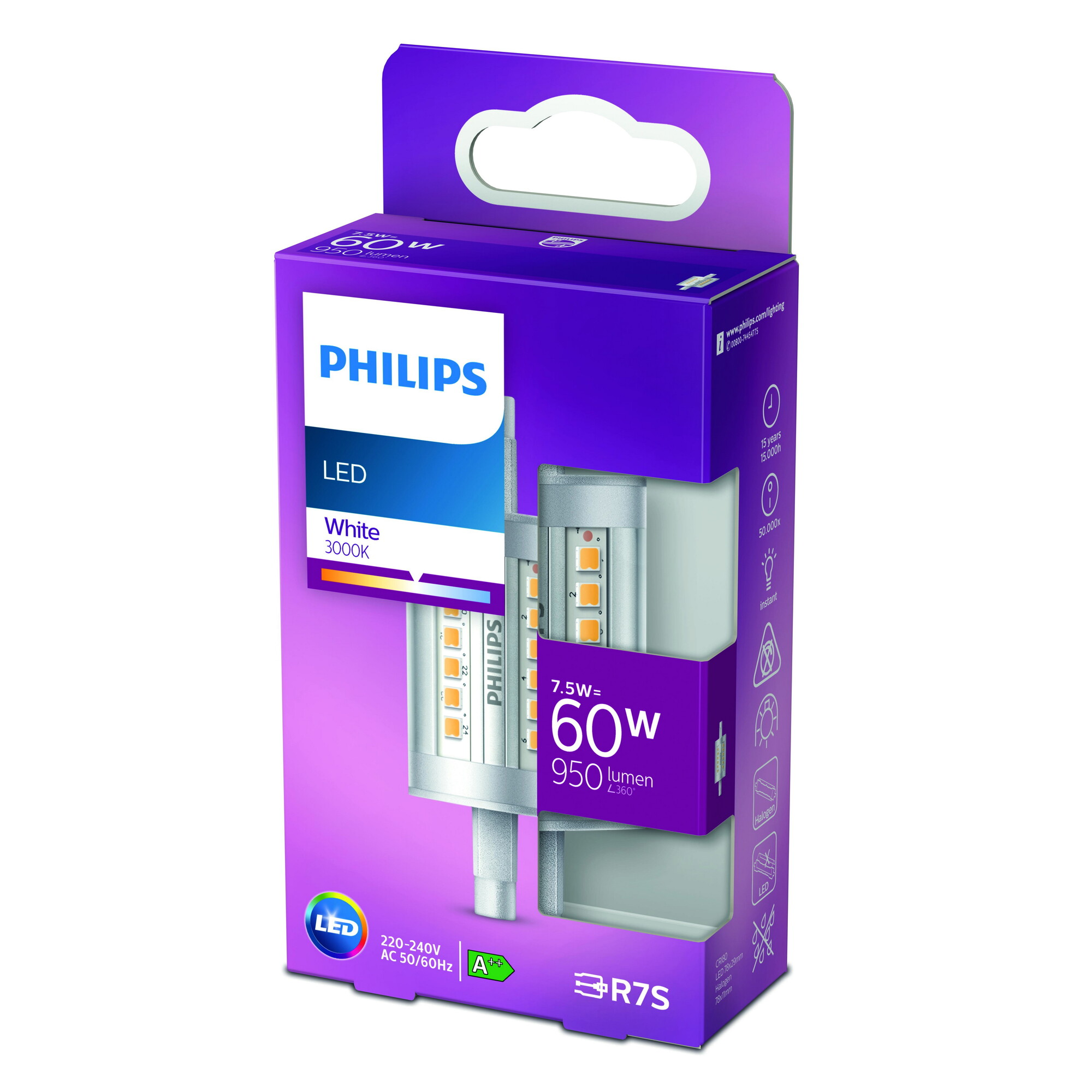 Philips LED R7S 7,5W 950lm 3000K Staaf Transparant