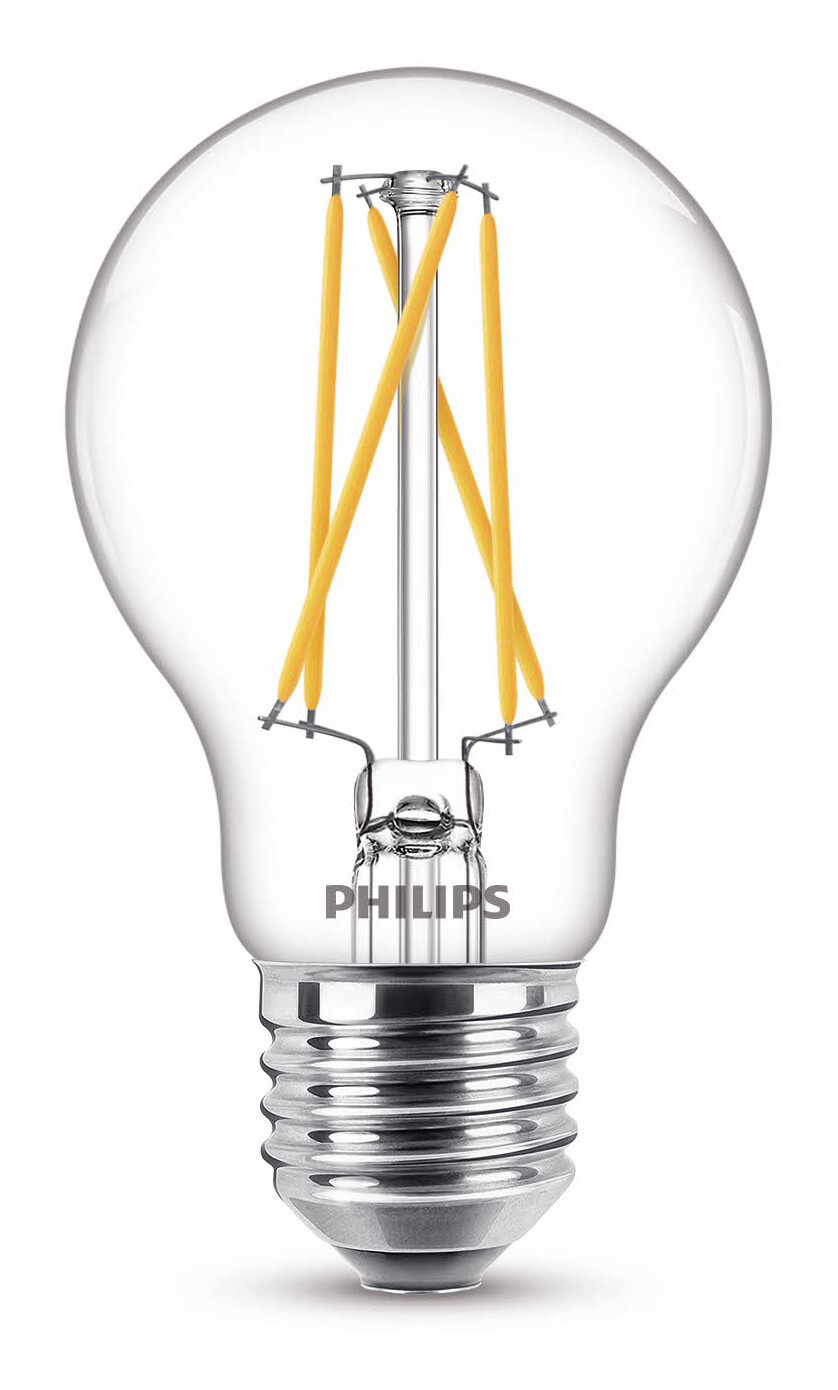 Philips LED classic E27 5W 470lm 2200K-2700K Ampoule Transparent
