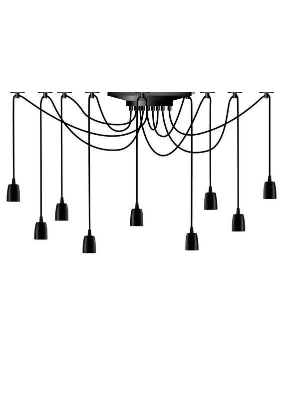 SPIDER Hanglamp E27 9x Zwart