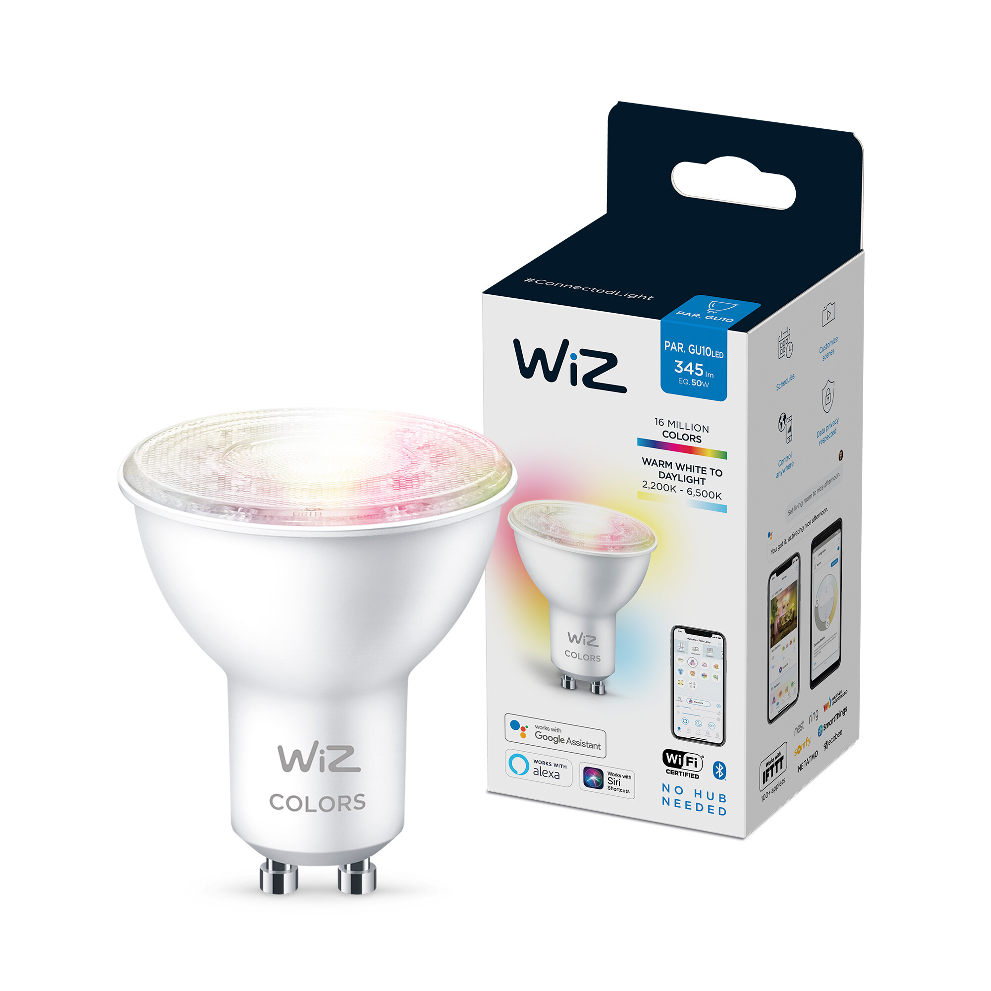 WiZ GU10 50W 400lm 2200K-6500K Spot Transparant