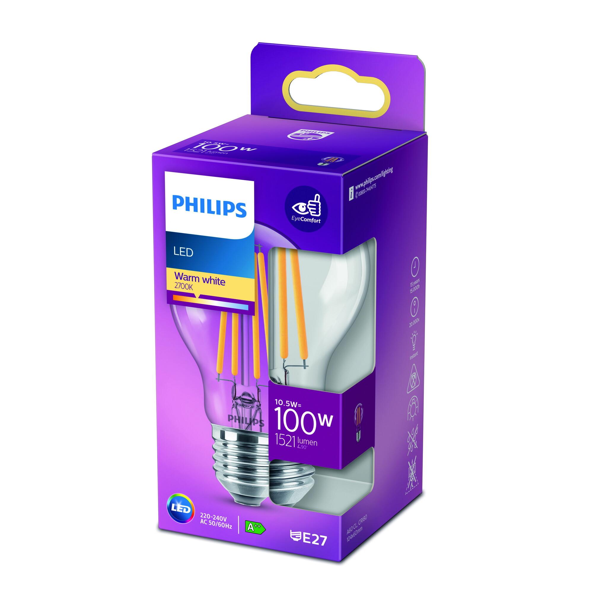 Philips LED classic E27 10,5W 1521lm 2700K Lamp Transparant