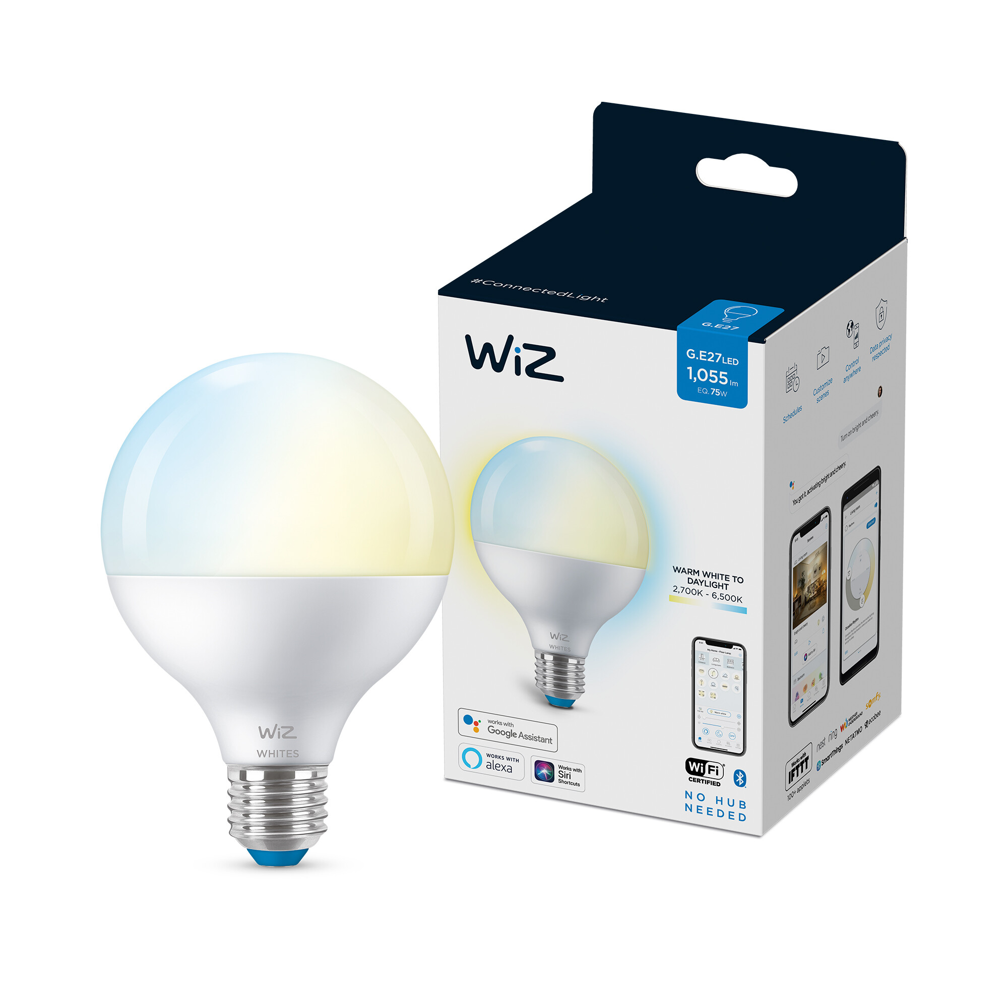 WiZ E27 75W 1055lm 2700K Globe Frosted