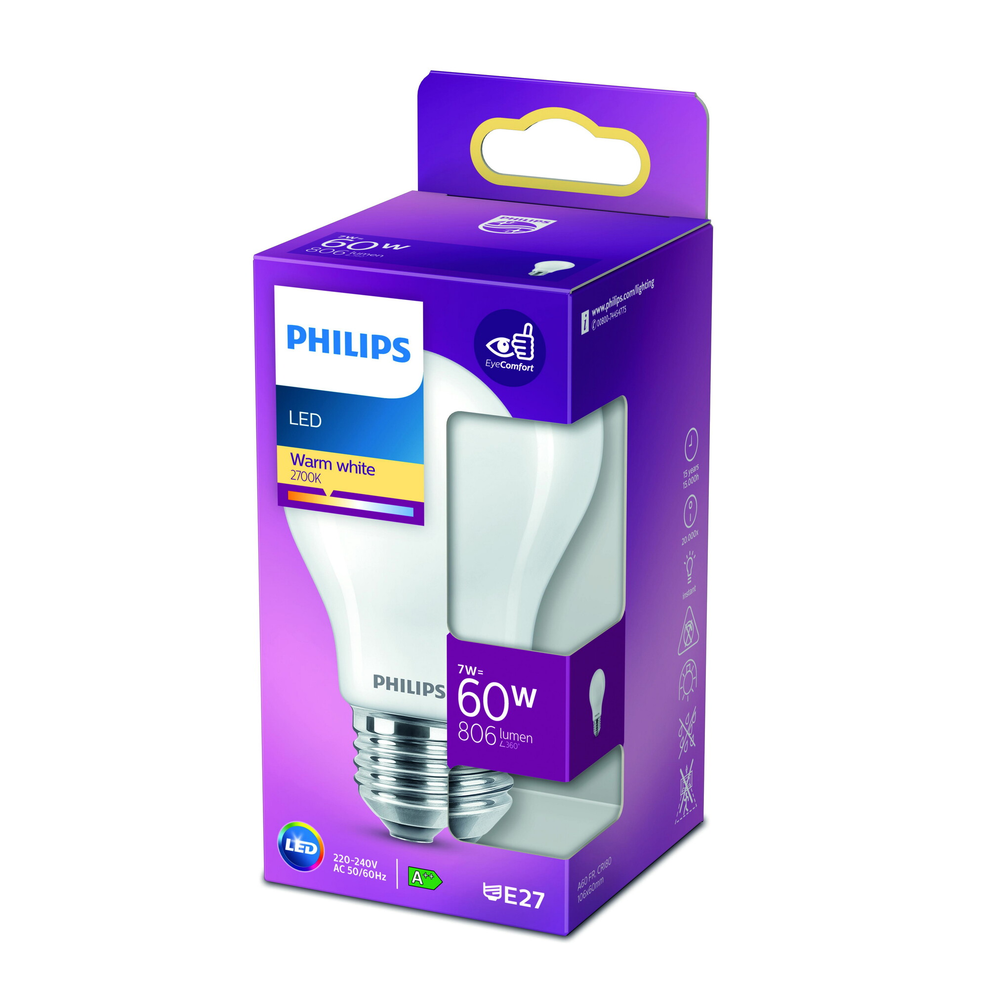 Philips LED classic E27 7W 806lm 2700K Lamp Frosted