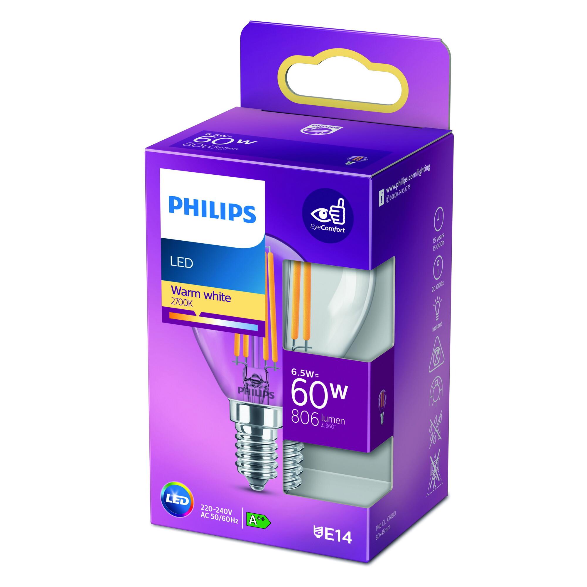 Philips LED classic E14 6,5W 806lm 2700K Kogel Transparant