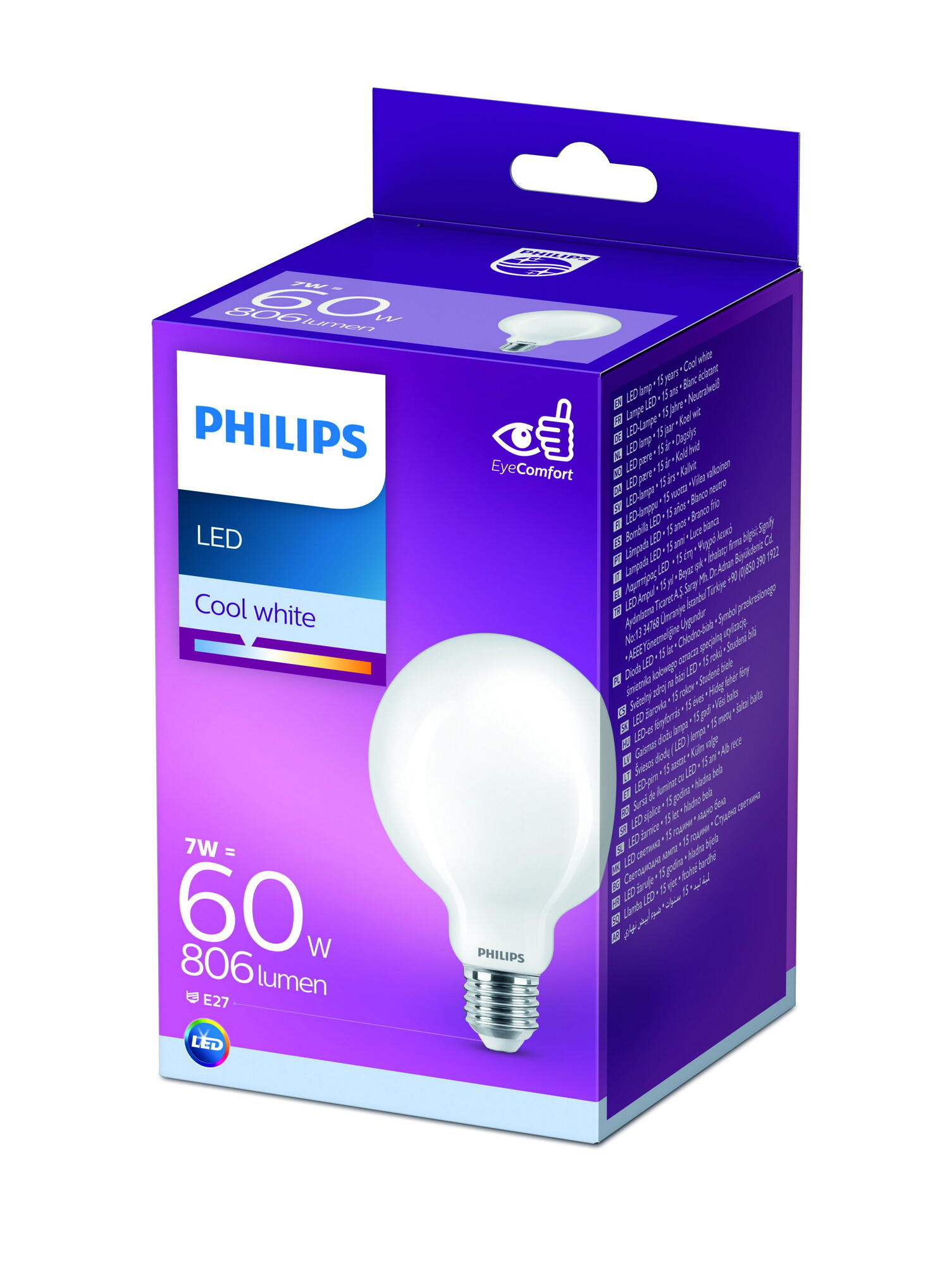 Philips LED E27 7W 806lm 4000K Globe Frosted