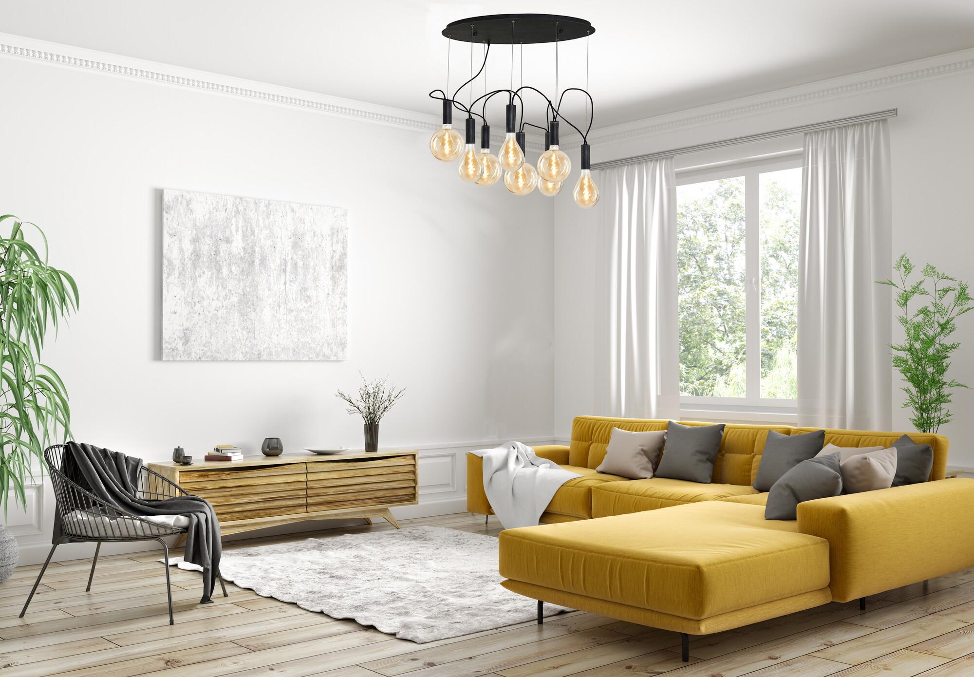 ALAMBO Hanglamp E27 8x Zwart