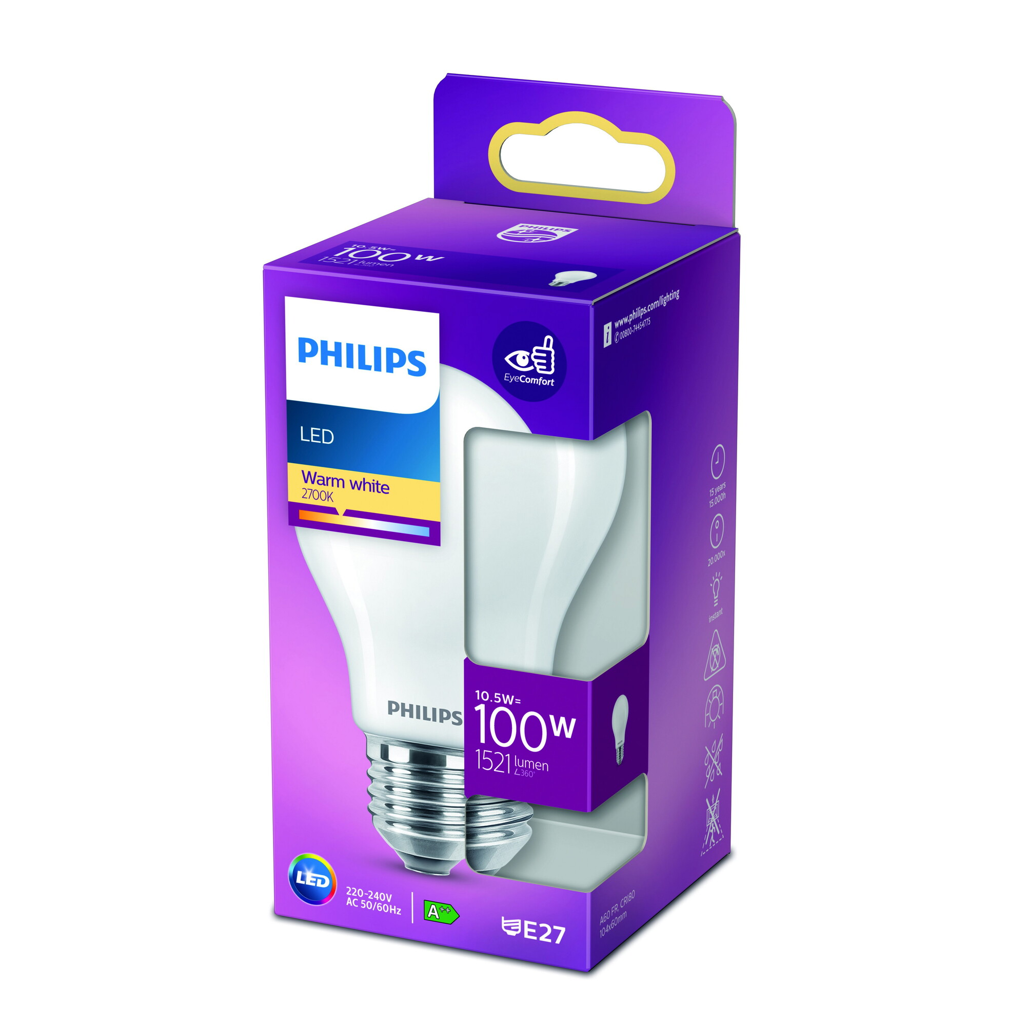 Philips LED classic E27 10,5W 1521lm 2700K Lamp Frosted