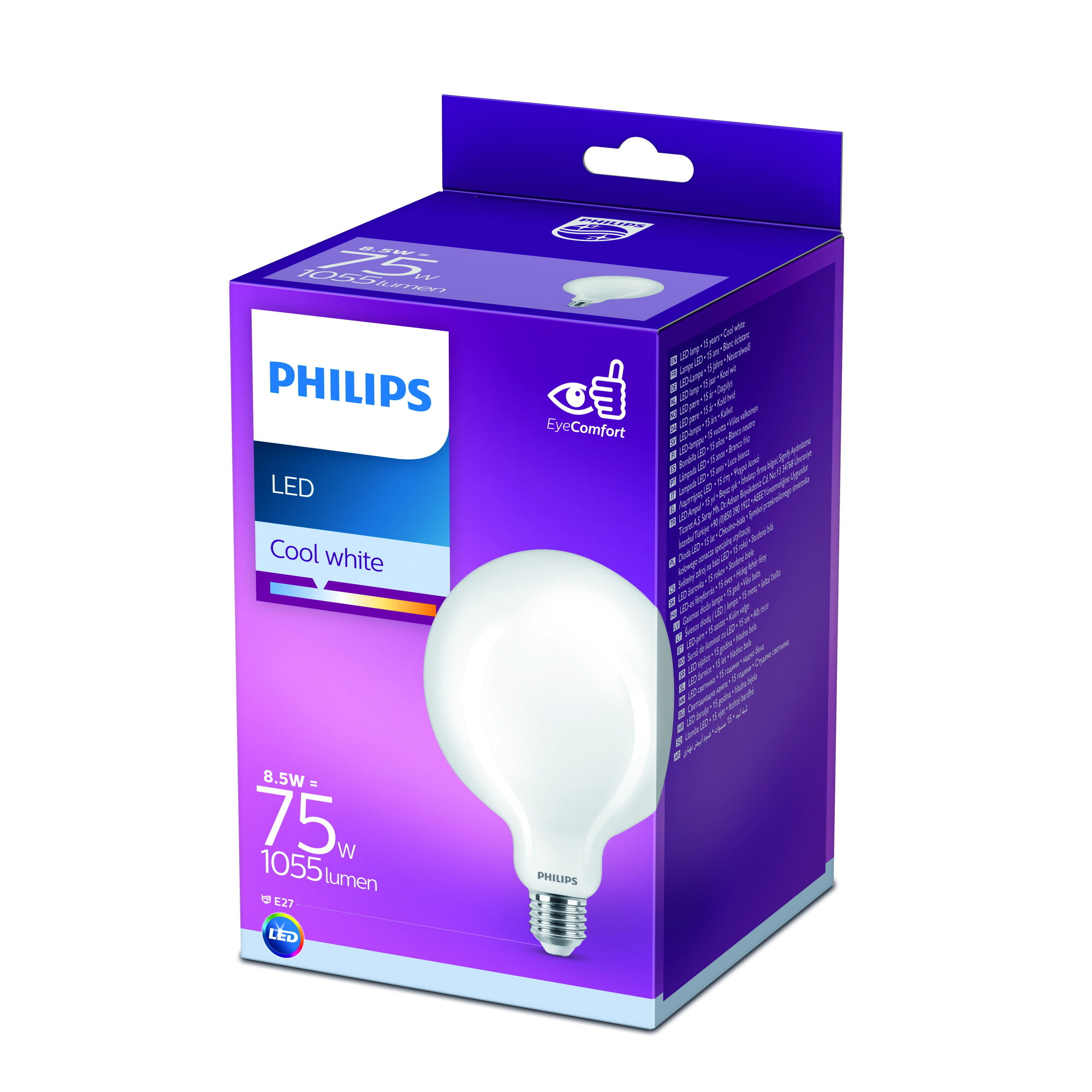 Philips LED E27 8,5W 1055lm 4000K Globe Frosted